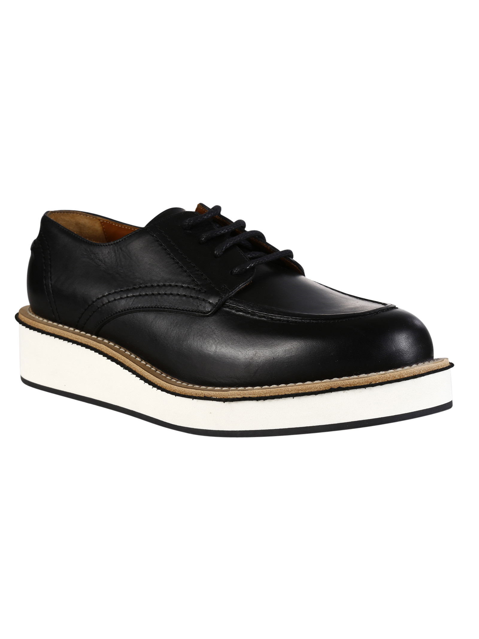 givenchy high platform lace up shoes black leather in
