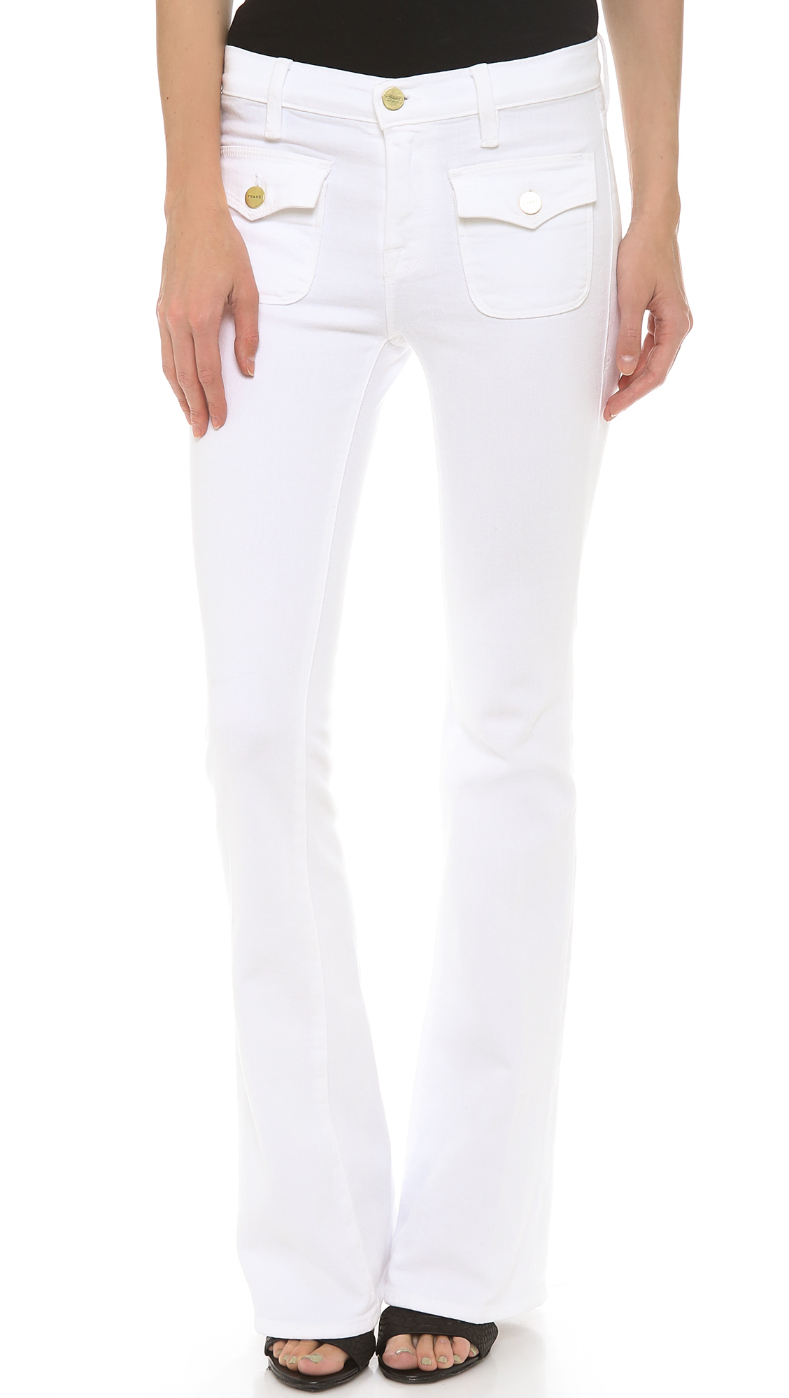 Lyst - Frame Le High Flare Flap Pocket Jeans in White