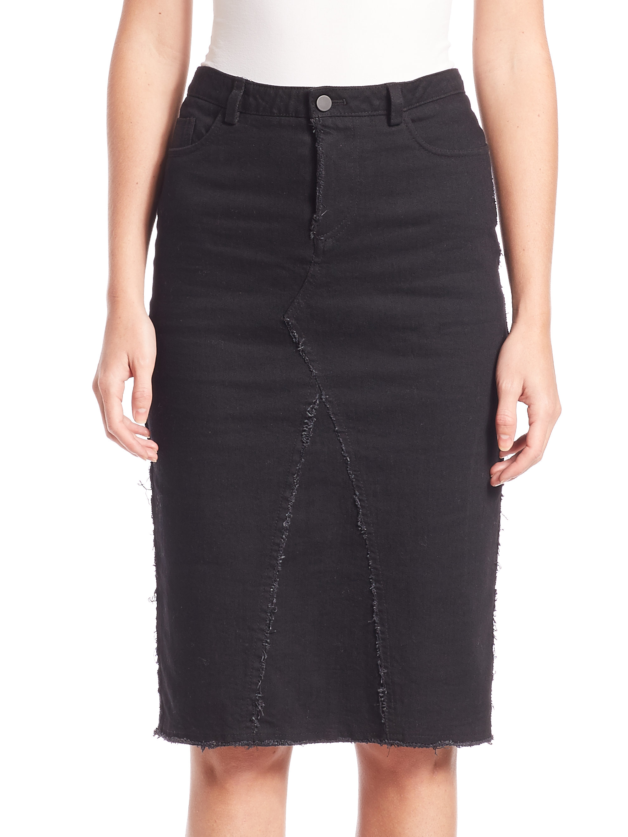 Atm Frayed Denim Pencil Skirt in Black | Lyst