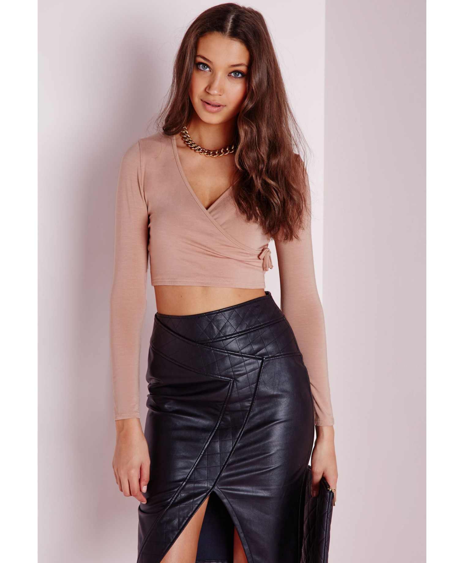Lyst Missguided Tie Side Long Sleeve Crop Top Taupe In Brown