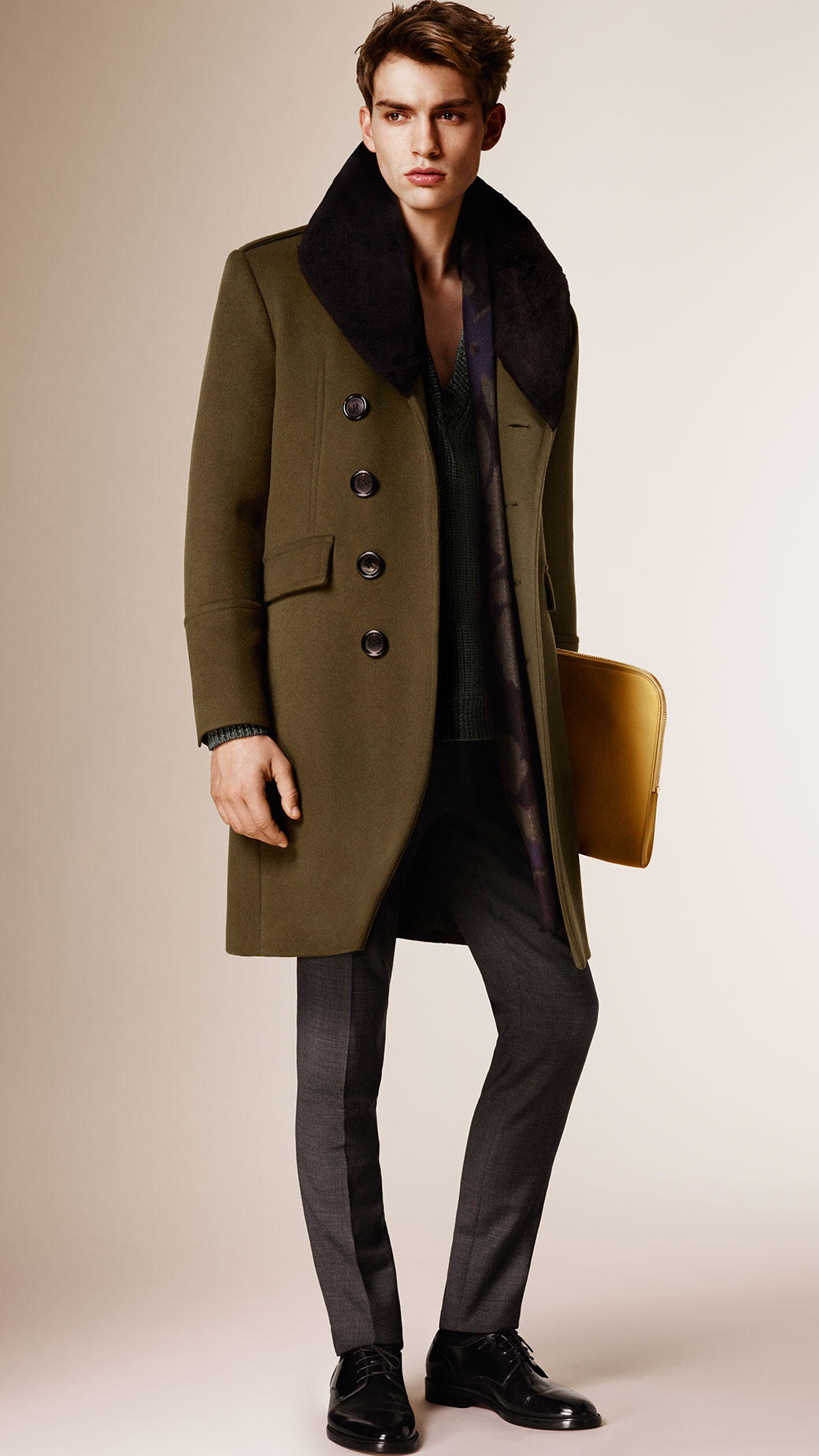Burberry Wool Cashmere Topcoat With Detachable Fur Collar in Green