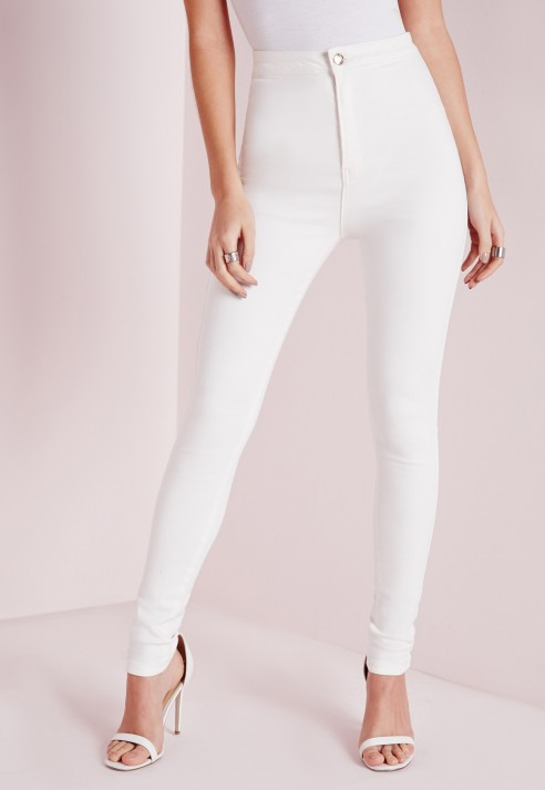 Missguided High Waisted Skinny Jeans White in White  Lyst