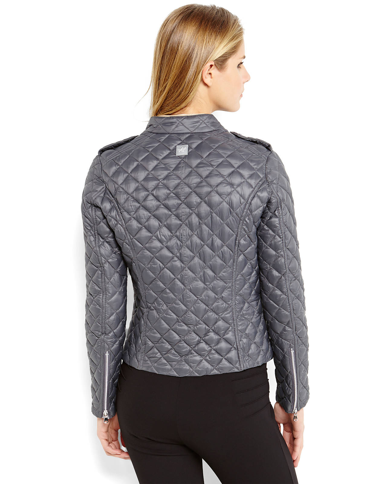 Kenneth cole Asymmetrical Quilted Jacket in Black