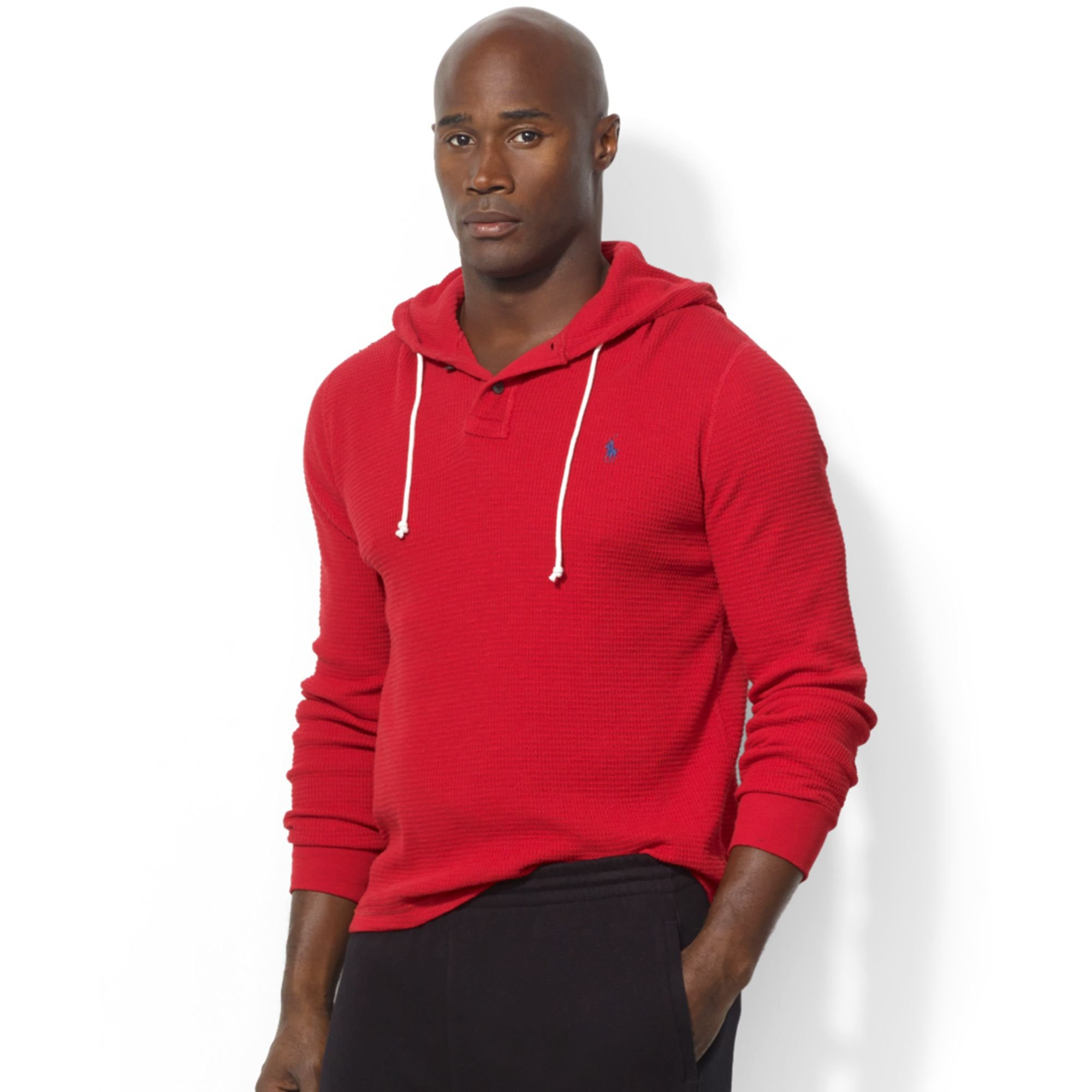 ab83fc59 Ralph Lauren Red Long Sleeve Waffle-knit Cotton Hoodie for men
