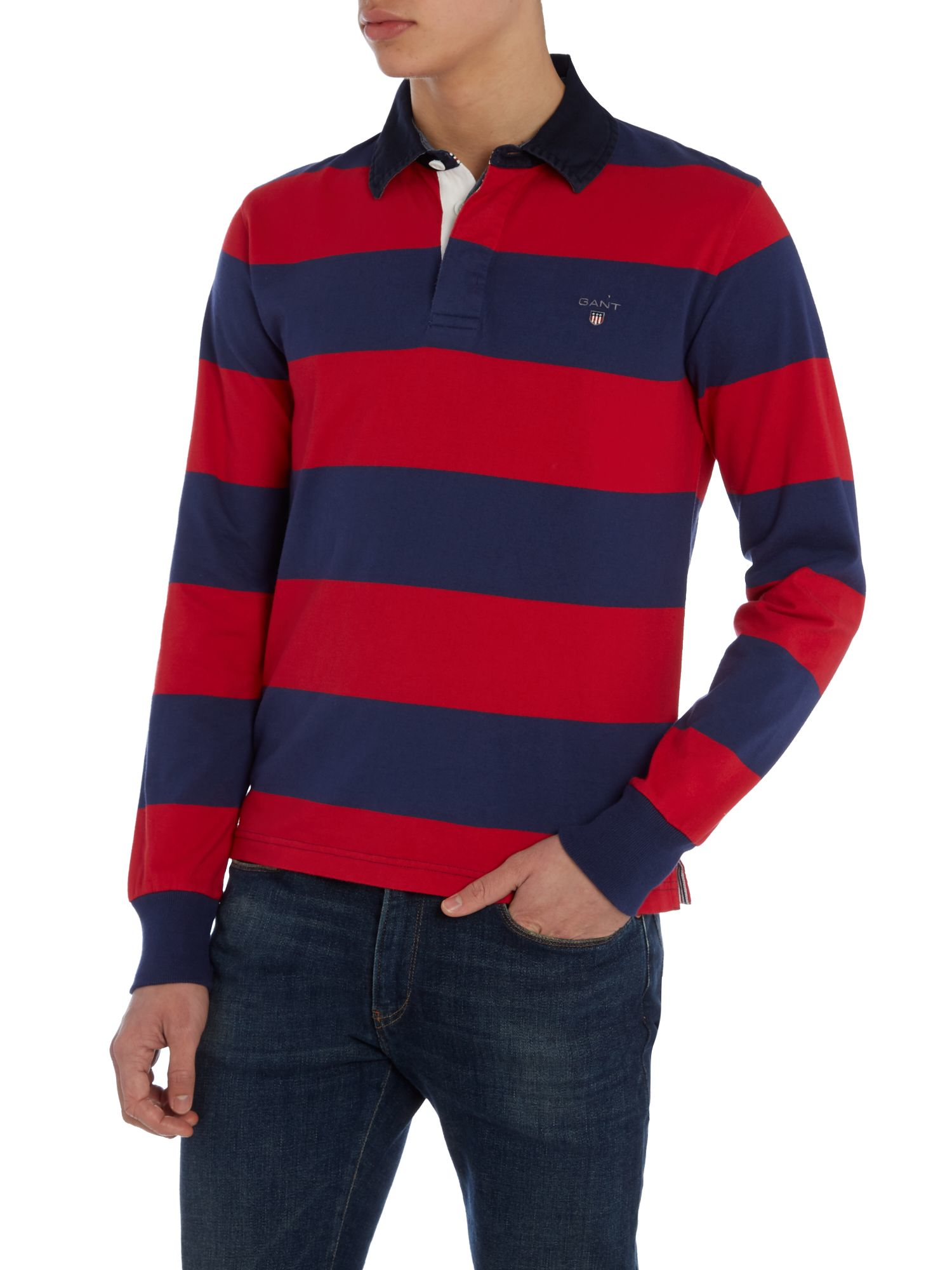 Gant Striped Long Sleeve Rugby Shirt In Blue For Men Lyst