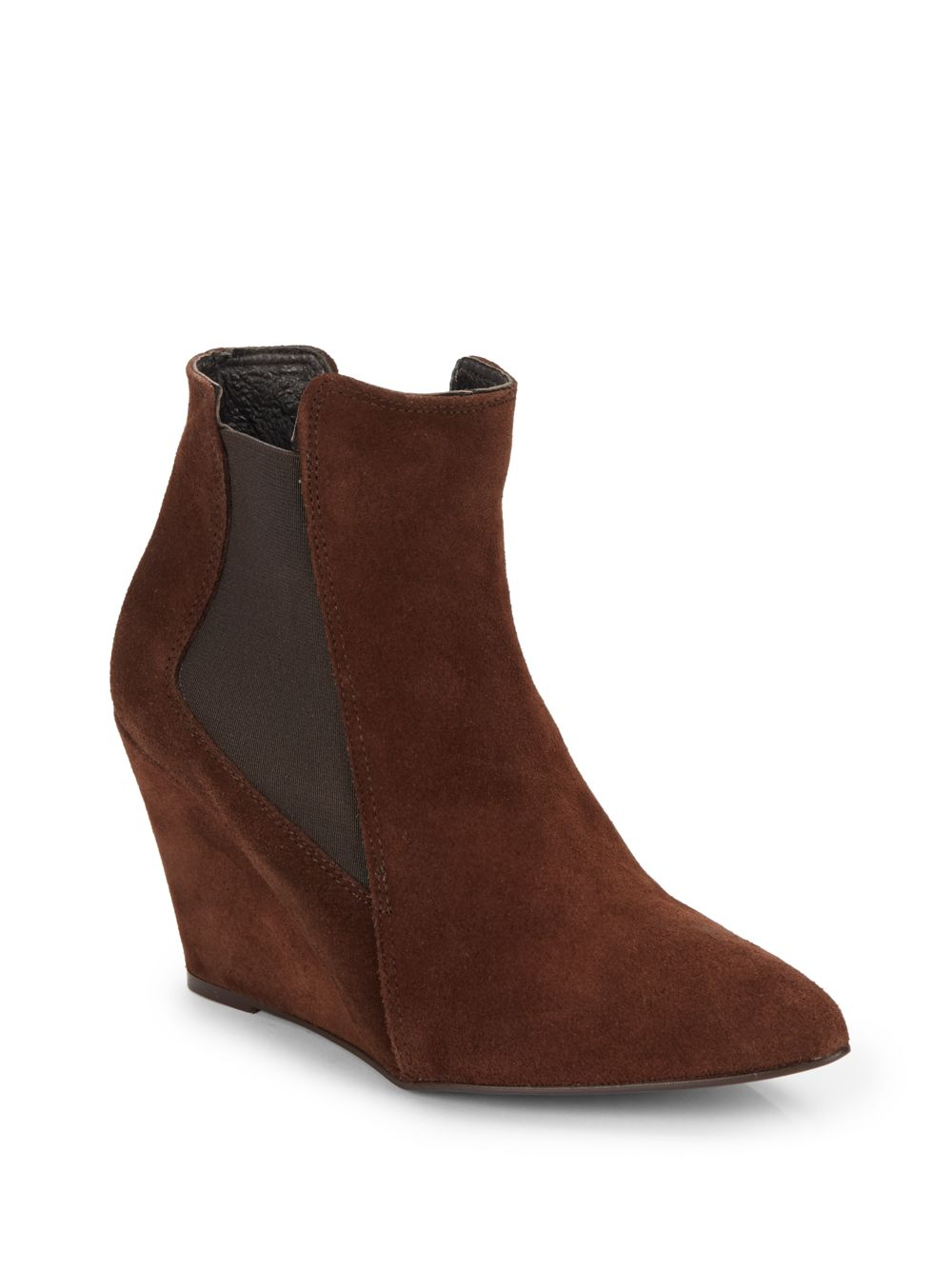 charles david edita suede wedge ankle boots in brown lyst