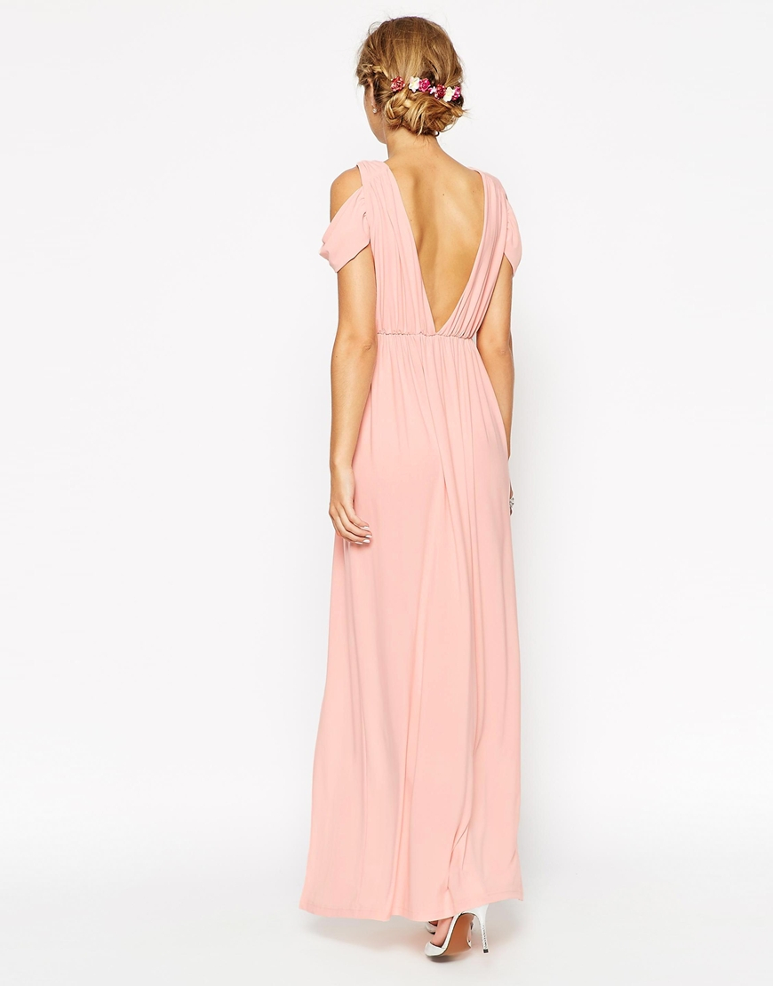 Asos wedding drape cold shoulder maxi dress in natural lyst for Cold shoulder dresses for wedding