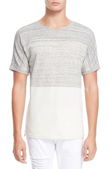 Helmut lang gradient color blocked cotton t shirt in gray for Helmut lang t shirt