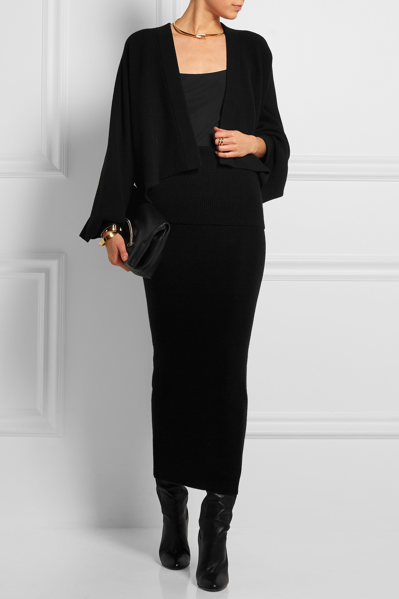lyst donna karan cropped ribbed cashmere cardigan in black. Black Bedroom Furniture Sets. Home Design Ideas