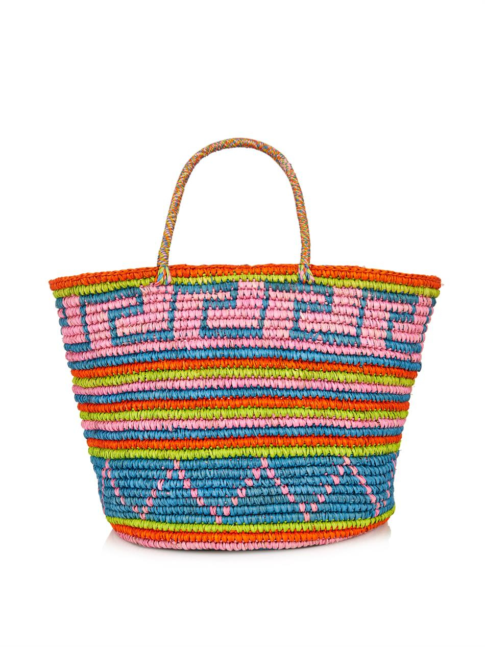 Sensi Studio Maxi Straw Tribal-Print Tote in Bright (Natural)