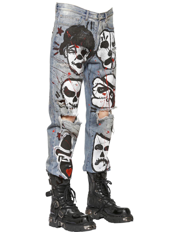 Faith connexion Painted Boyfriend Cotton Denim Jeans in