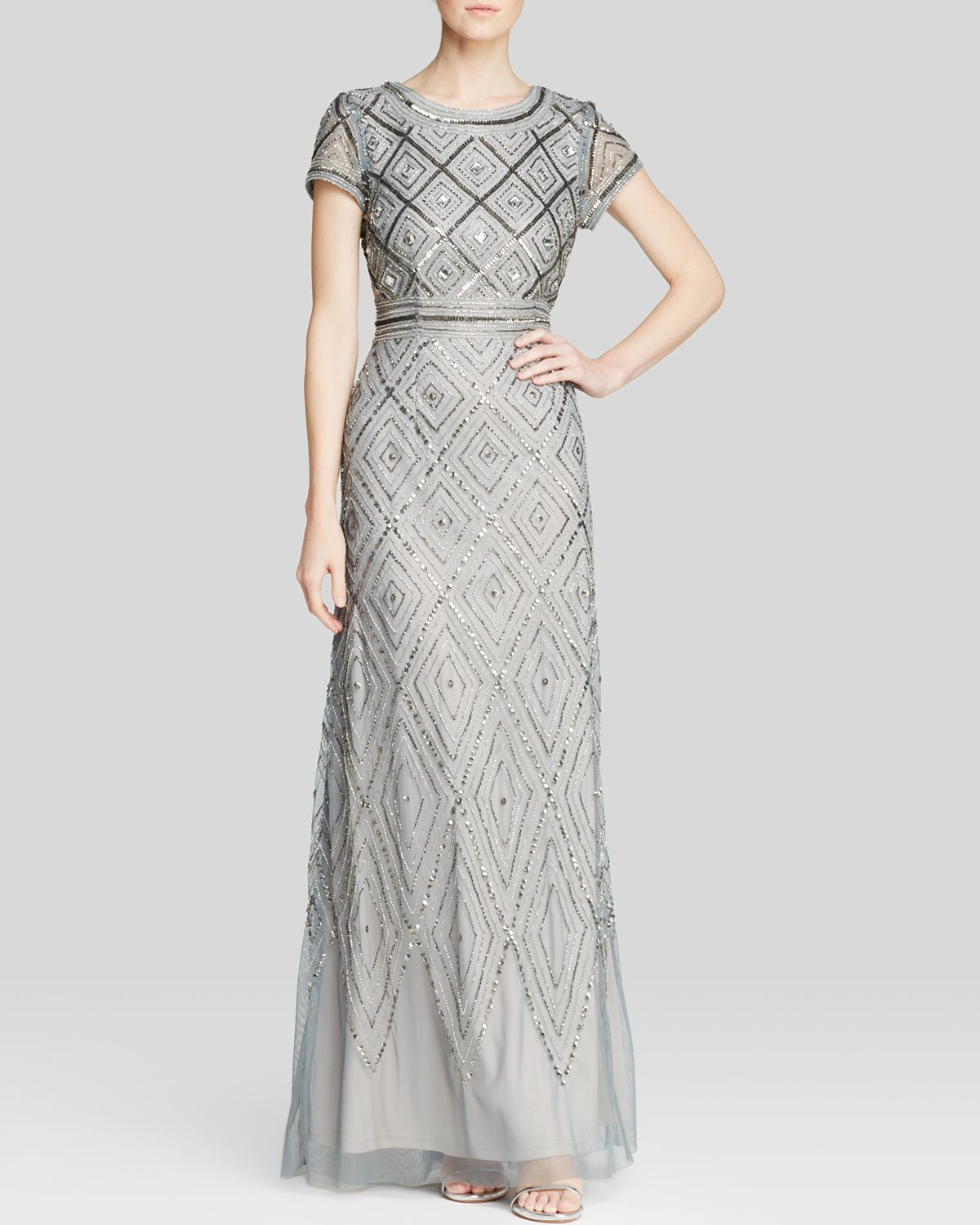 Lyst - Adrianna Papell Gown - Short Sleeve Geometric Beaded in Gray