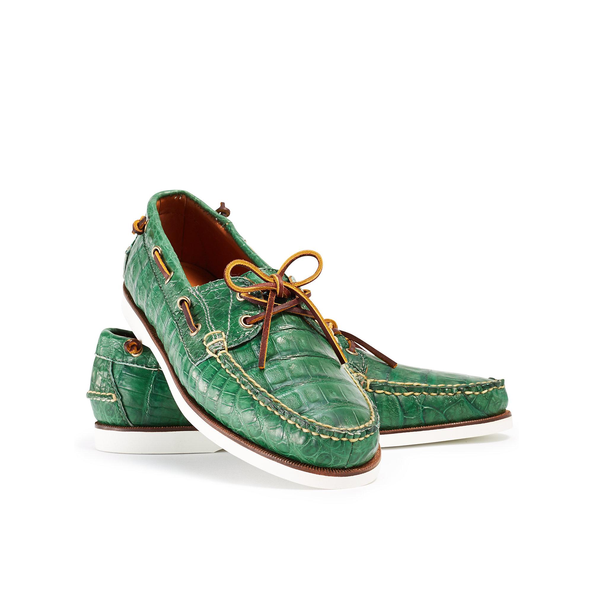 854621ce05 Ralph Lauren Green Crocodile Telford Ii Boat Shoe for men