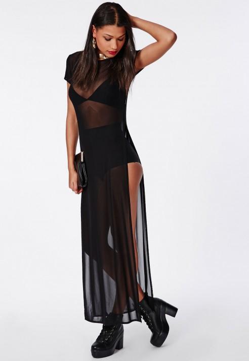 a6f46bd661f Mesh Split Side Maxi T Shirt Dress Black - Women s Dresses