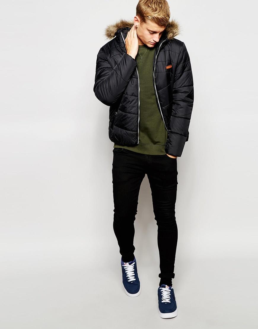 Jack & jones Padded Jacket With Faux Fur Hood in Black for Men | Lyst