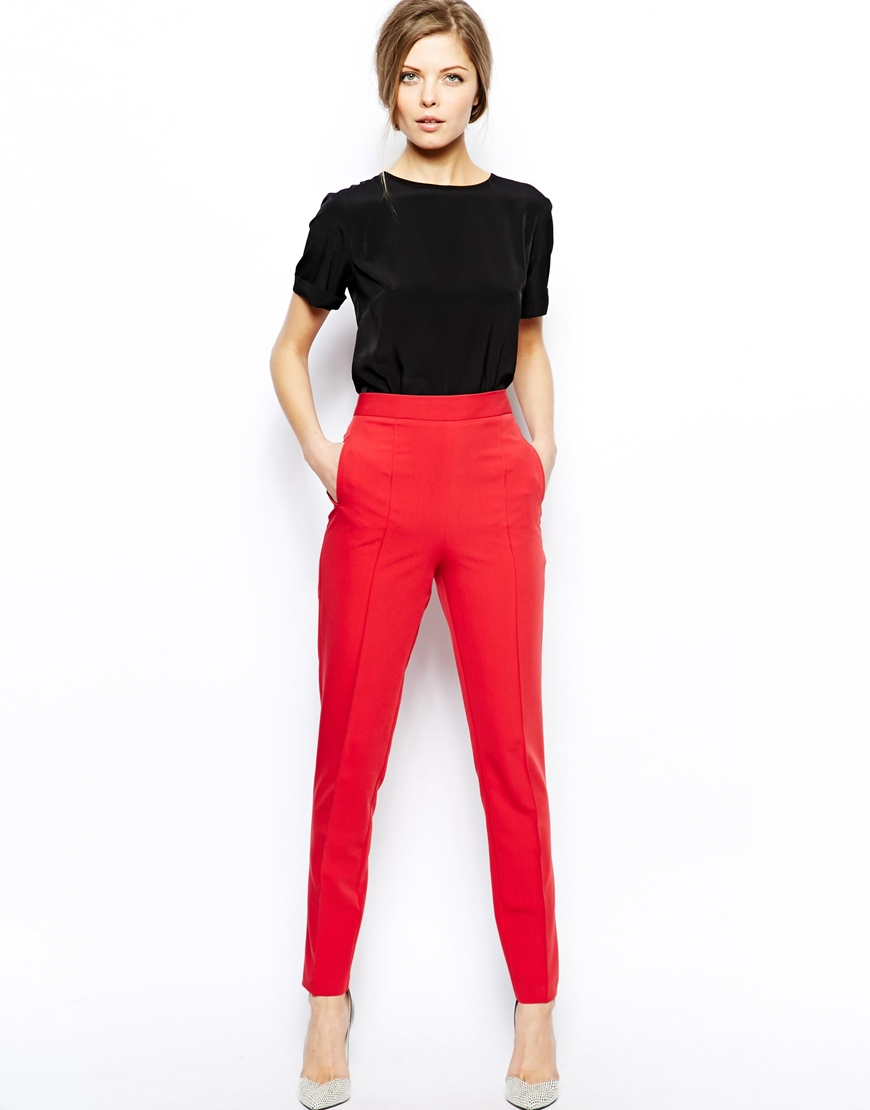 asos trousers with high waist in red lyst. Black Bedroom Furniture Sets. Home Design Ideas