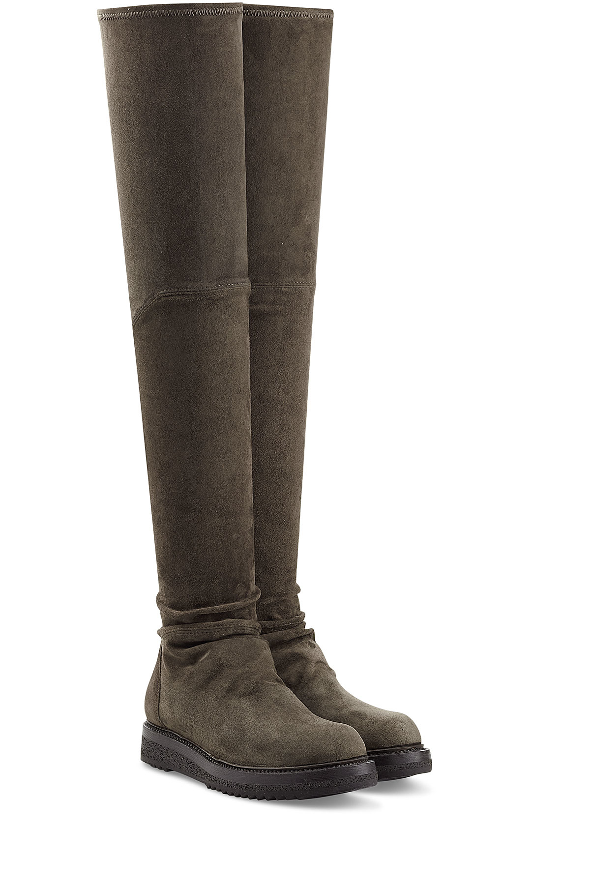 rick owens suede the knee boots in gray lyst