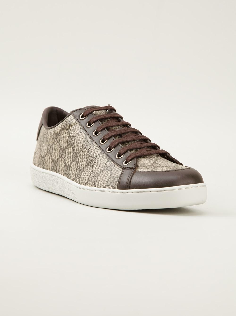 e78f30325 Gucci Monogram Sneakers in Brown - Lyst