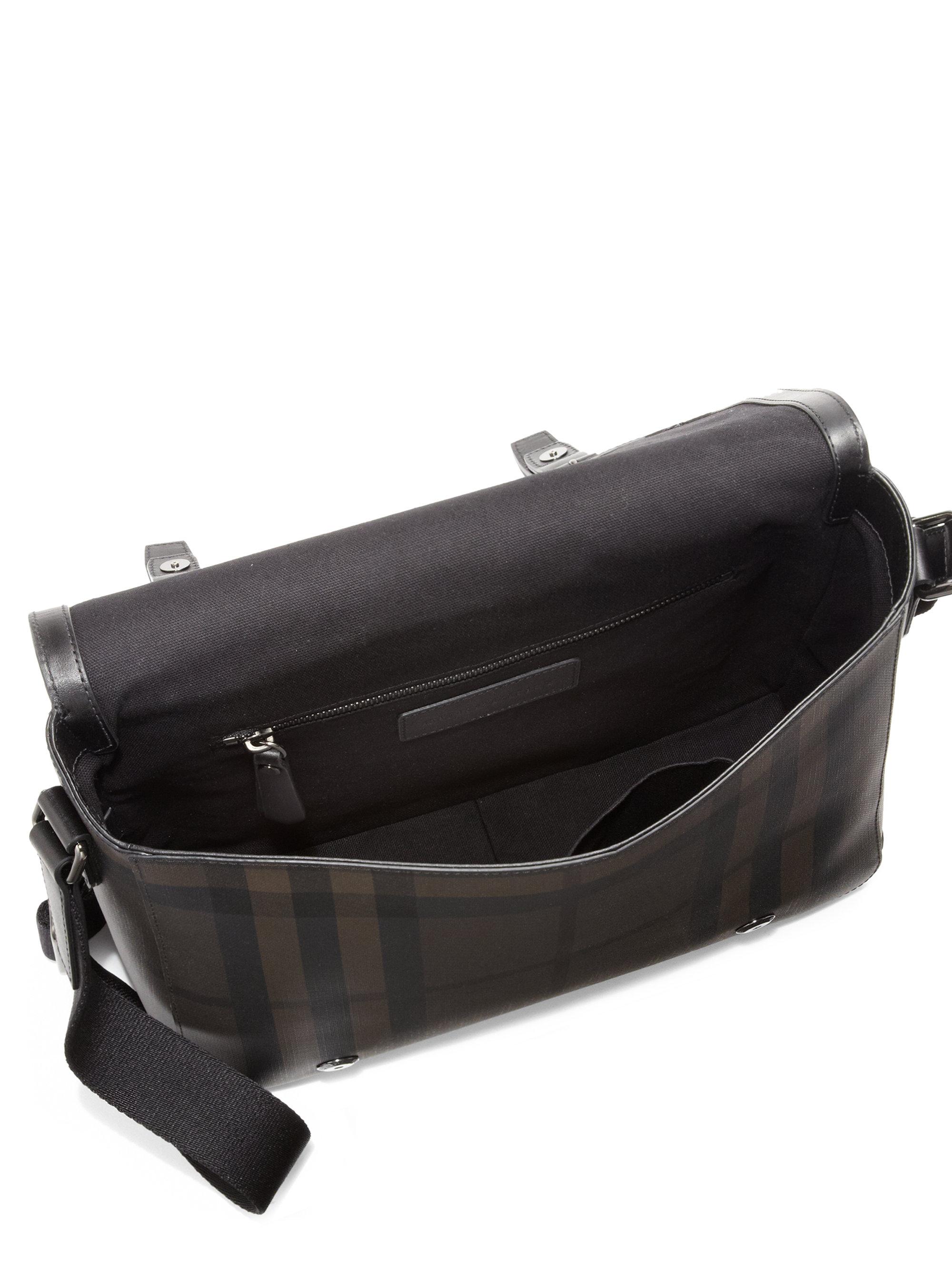 6adea9f1bb77 Lyst - Burberry Smoke Check Messenger Bag in Black for Men