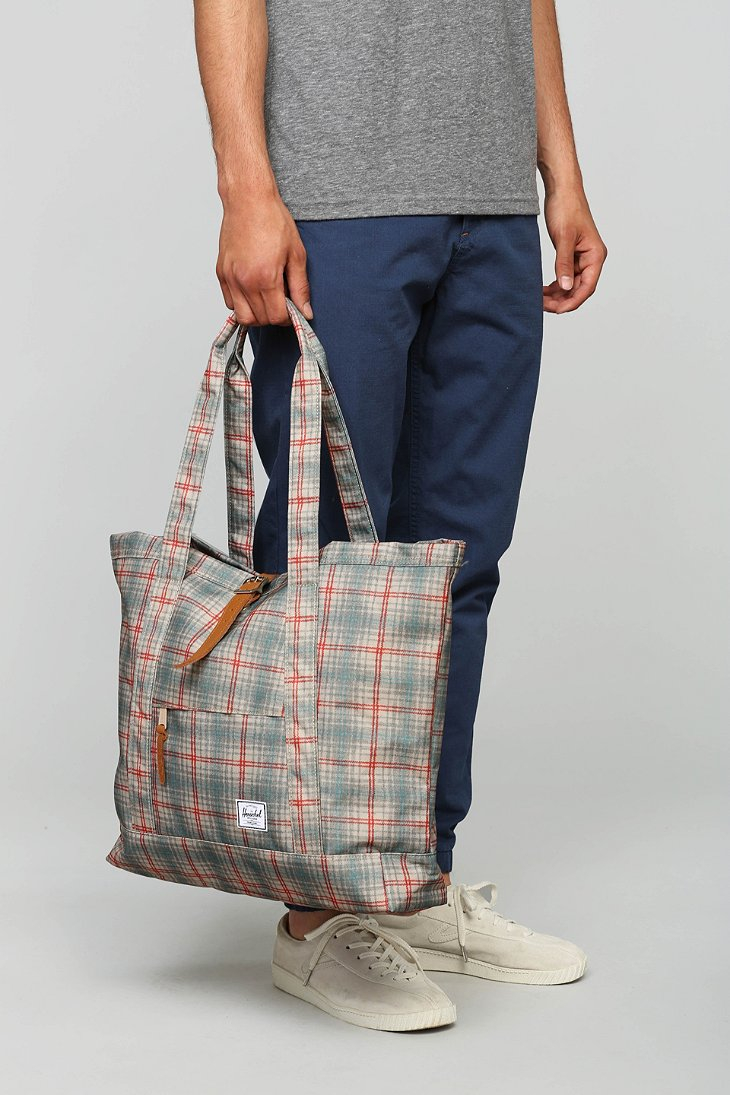 84ab41d7c539 Lyst - Herschel Supply Co. Oversized Plaid Market Tote Bag in Gray ...