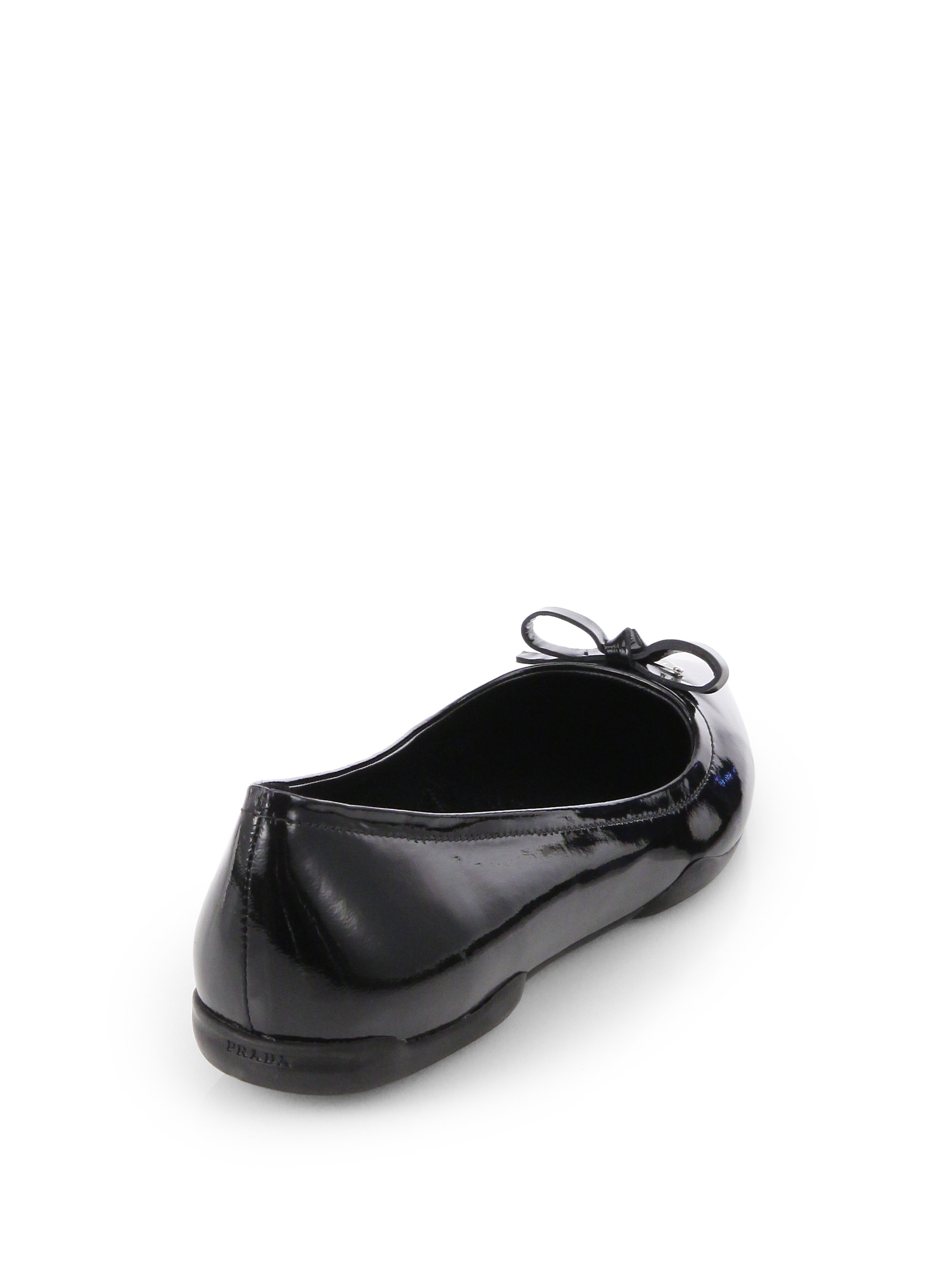 Lyst Prada Patent Leather Pointtoe Ballet Flats In Blue