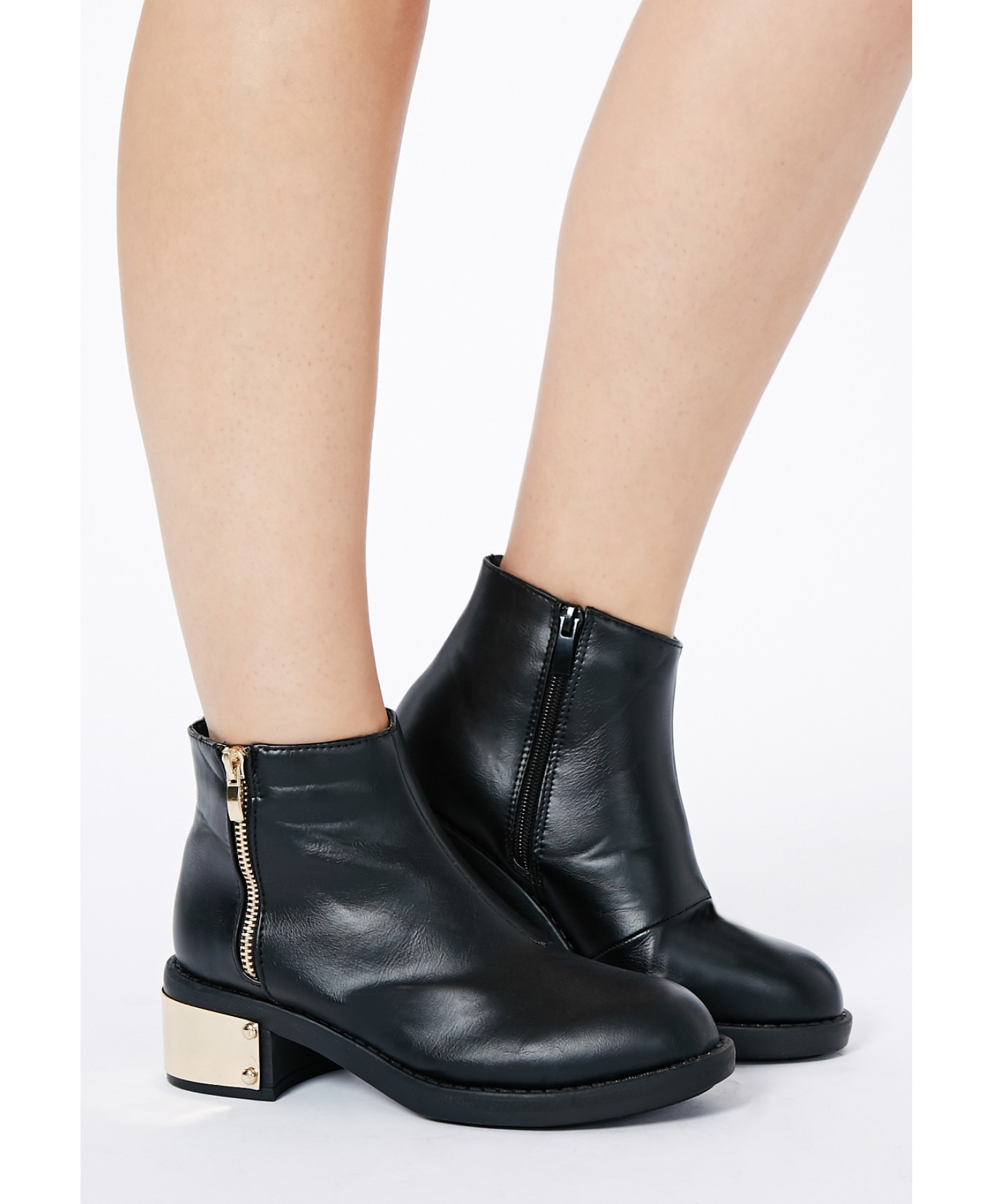 Missguided Akima Gold Detail Ankle Boots in Metallic