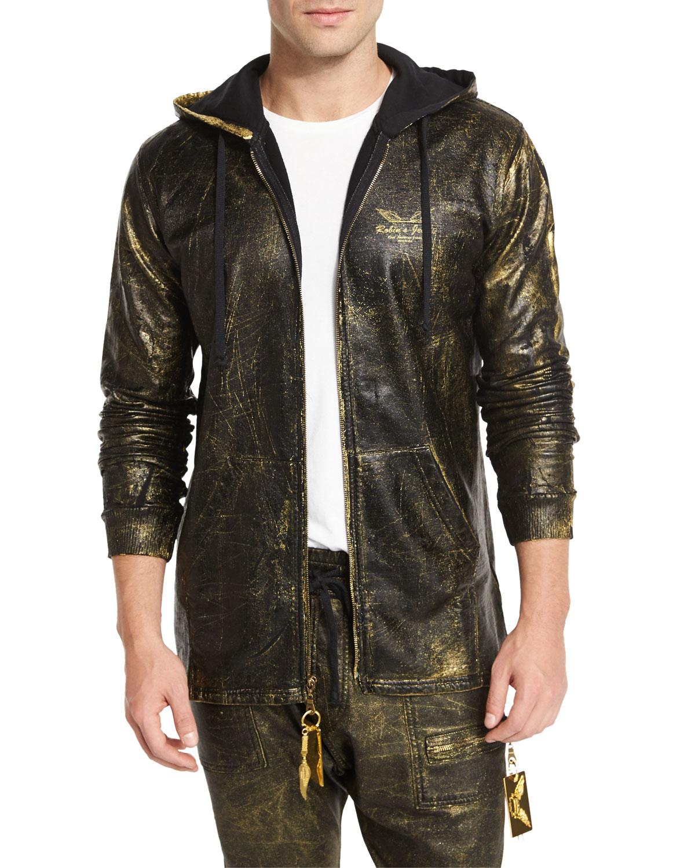 Robinu0026#39;s jean Gold-coated Zip-up Hoodie in Metallic for Men   Lyst