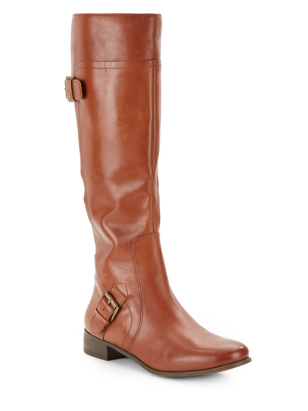 nine west buckle detail leather boots in brown lyst