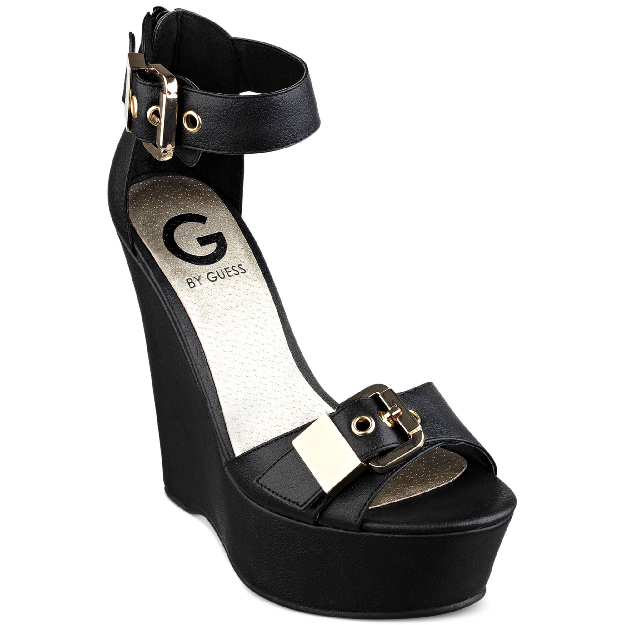 G By Guess Womens Honey Platform Wedge Sandals In Black Lyst