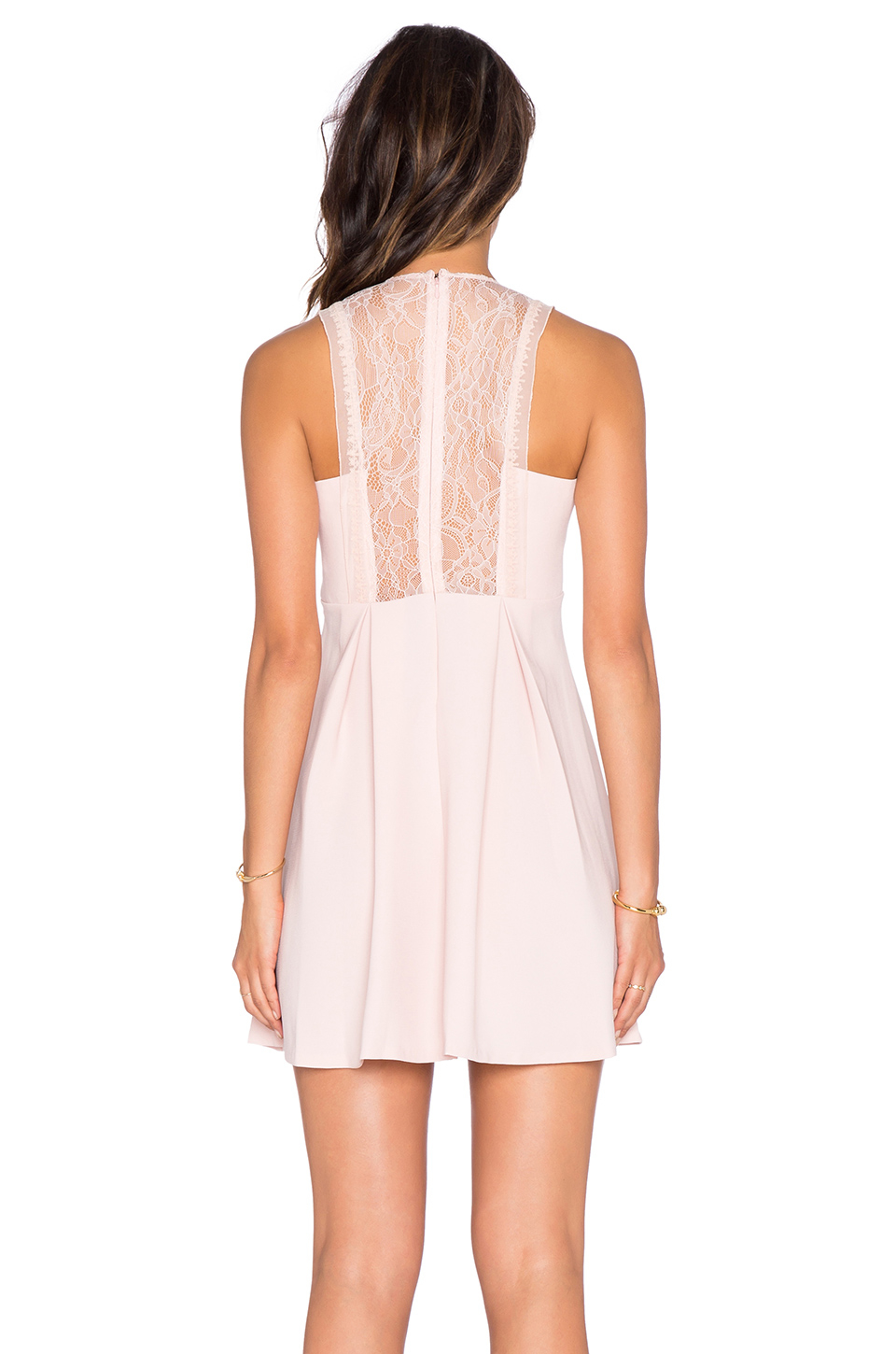 Bcbgeneration Lace Fit Amp Flare Dress In Rose Smoke Pink