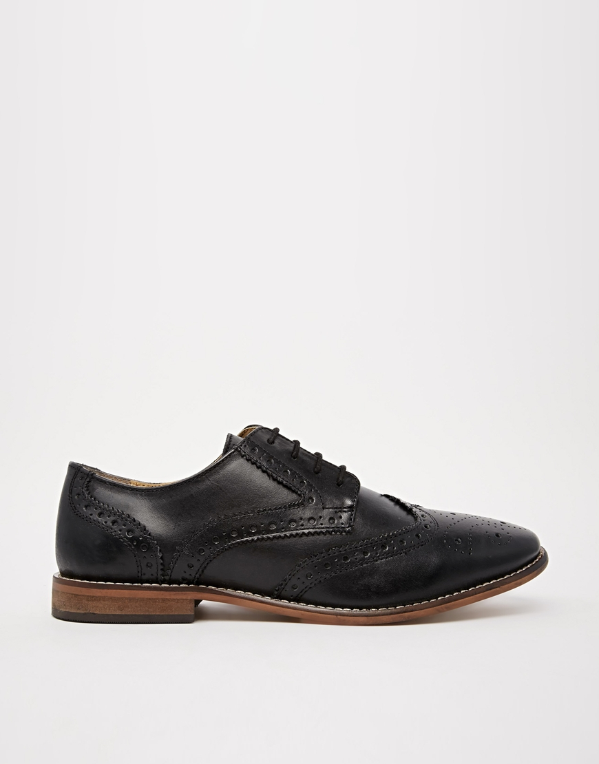 asos brogue shoes in leather in black for lyst