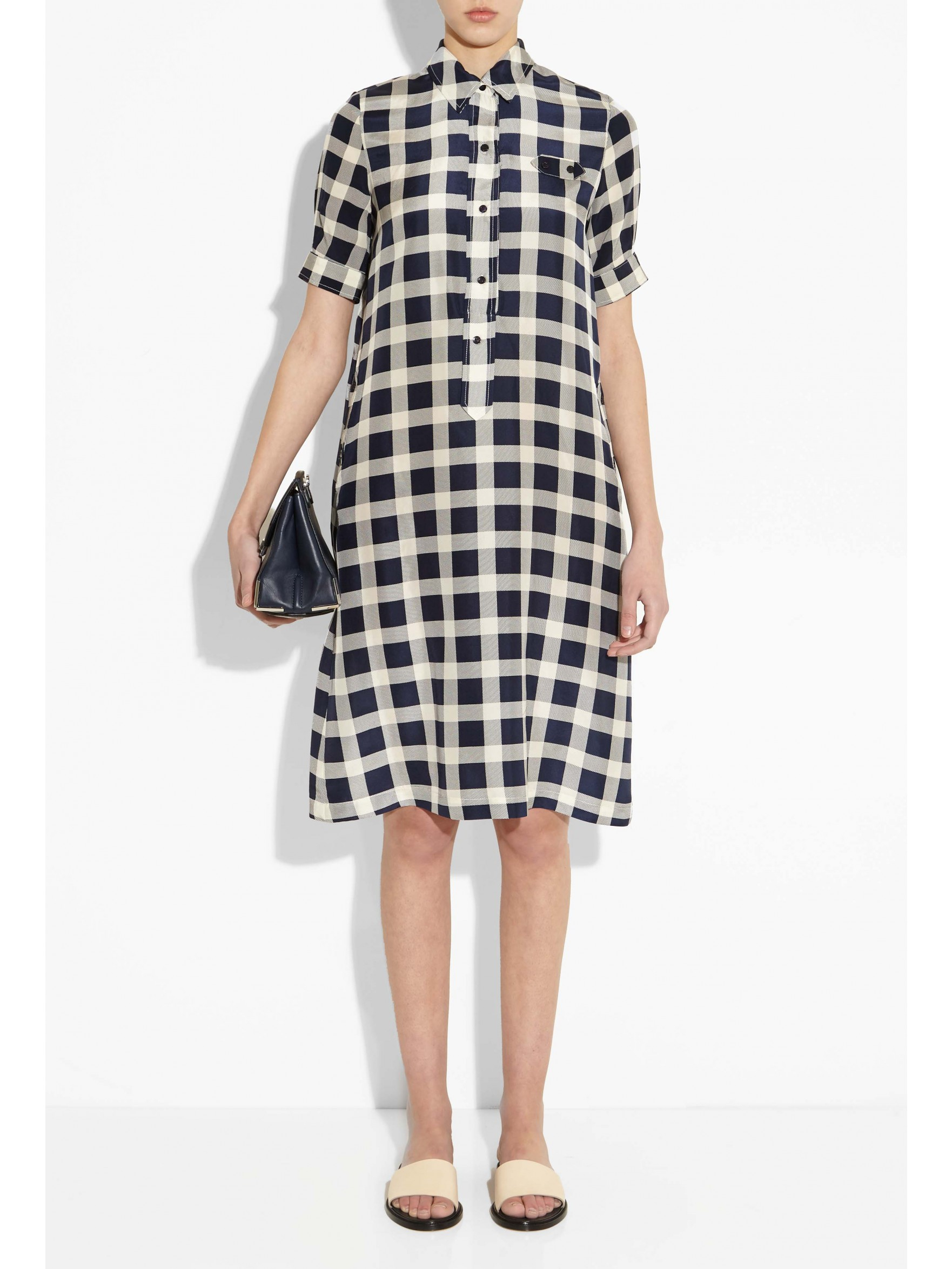 No 6 Lucinda Shirt Dress In Blue Gingham Navy Lyst