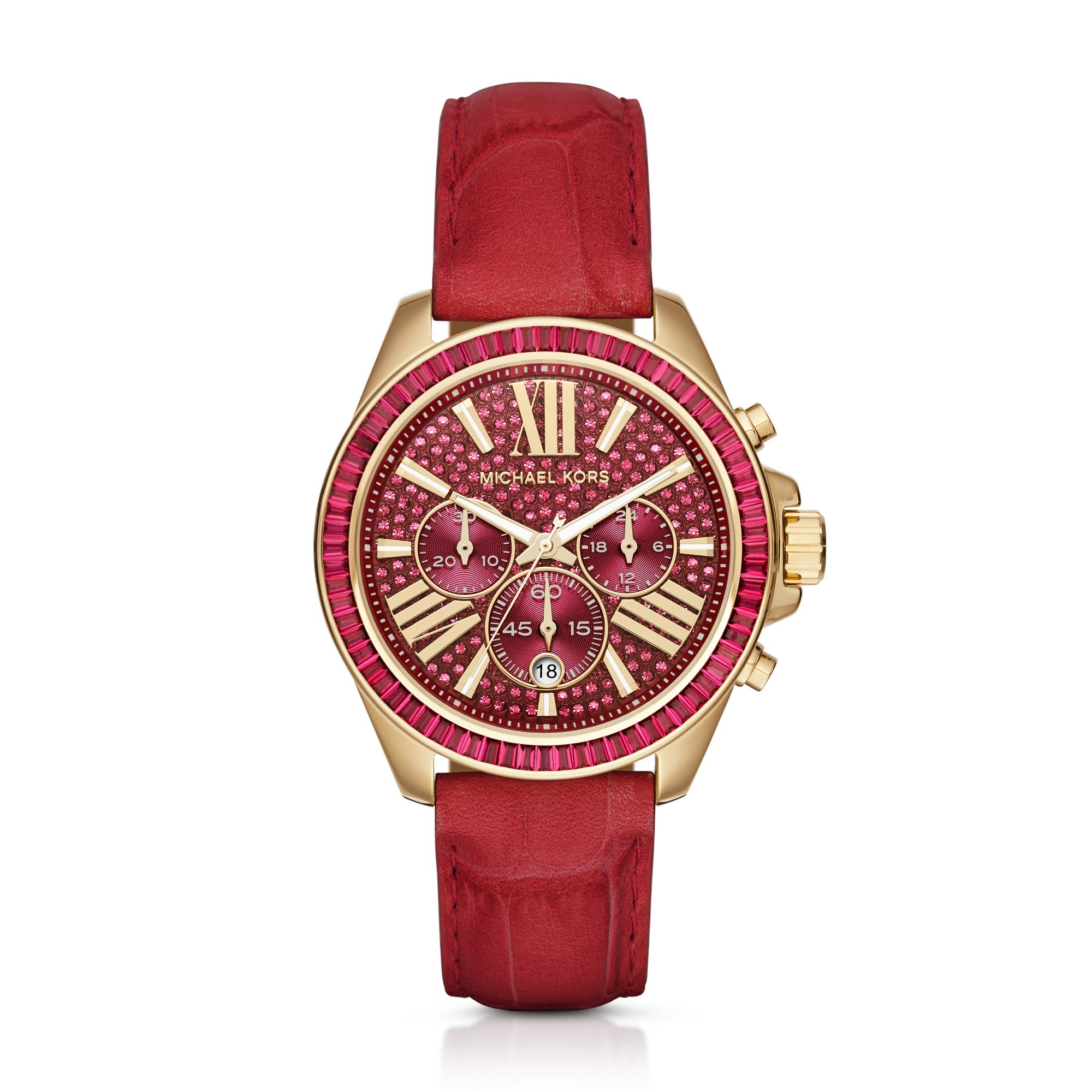 Lyst - Michael Kors Wren Gold-tone And Leather Watch in Red