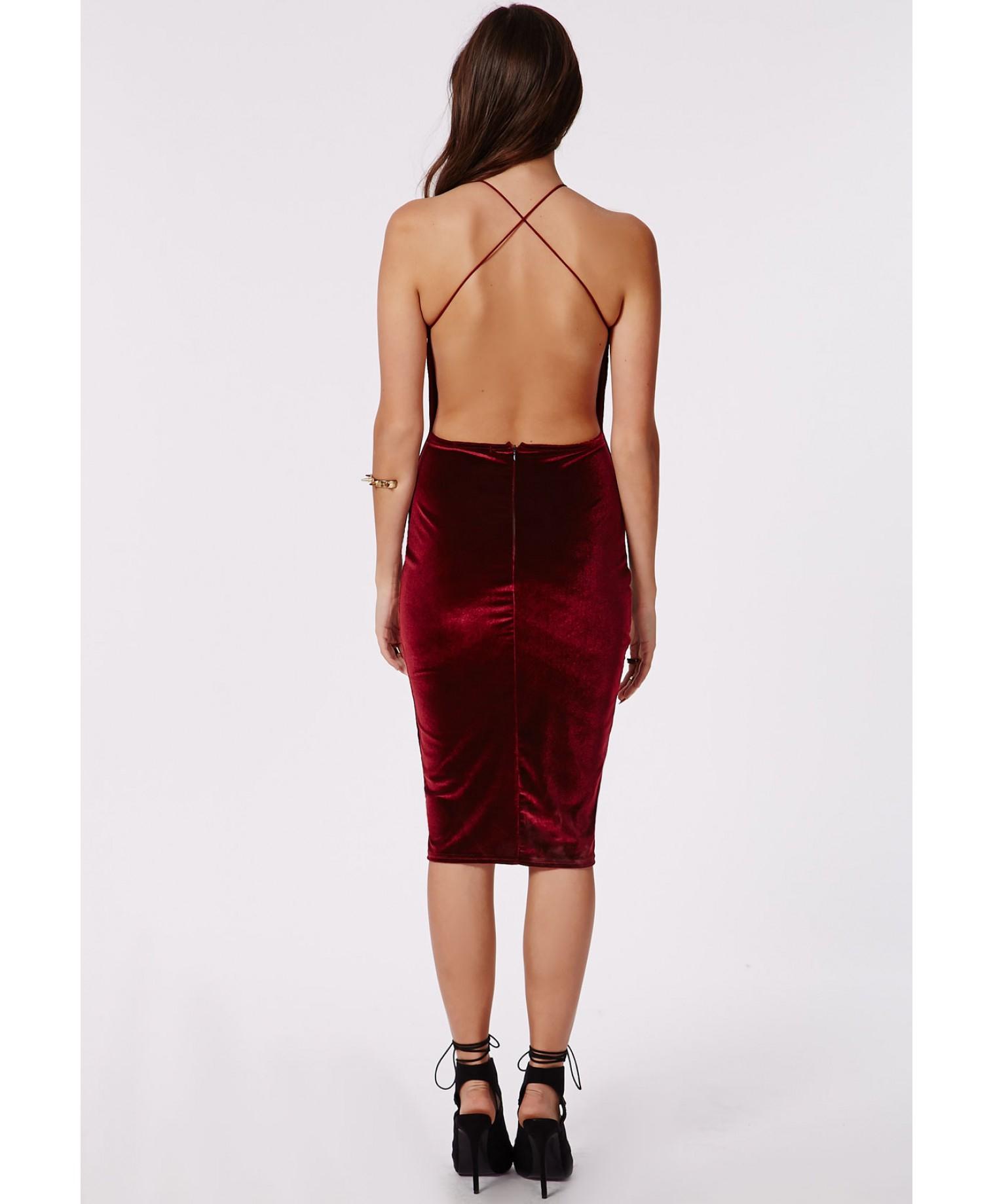 Missguided Freda Velvet Strappy Midi Dress Burgundy In