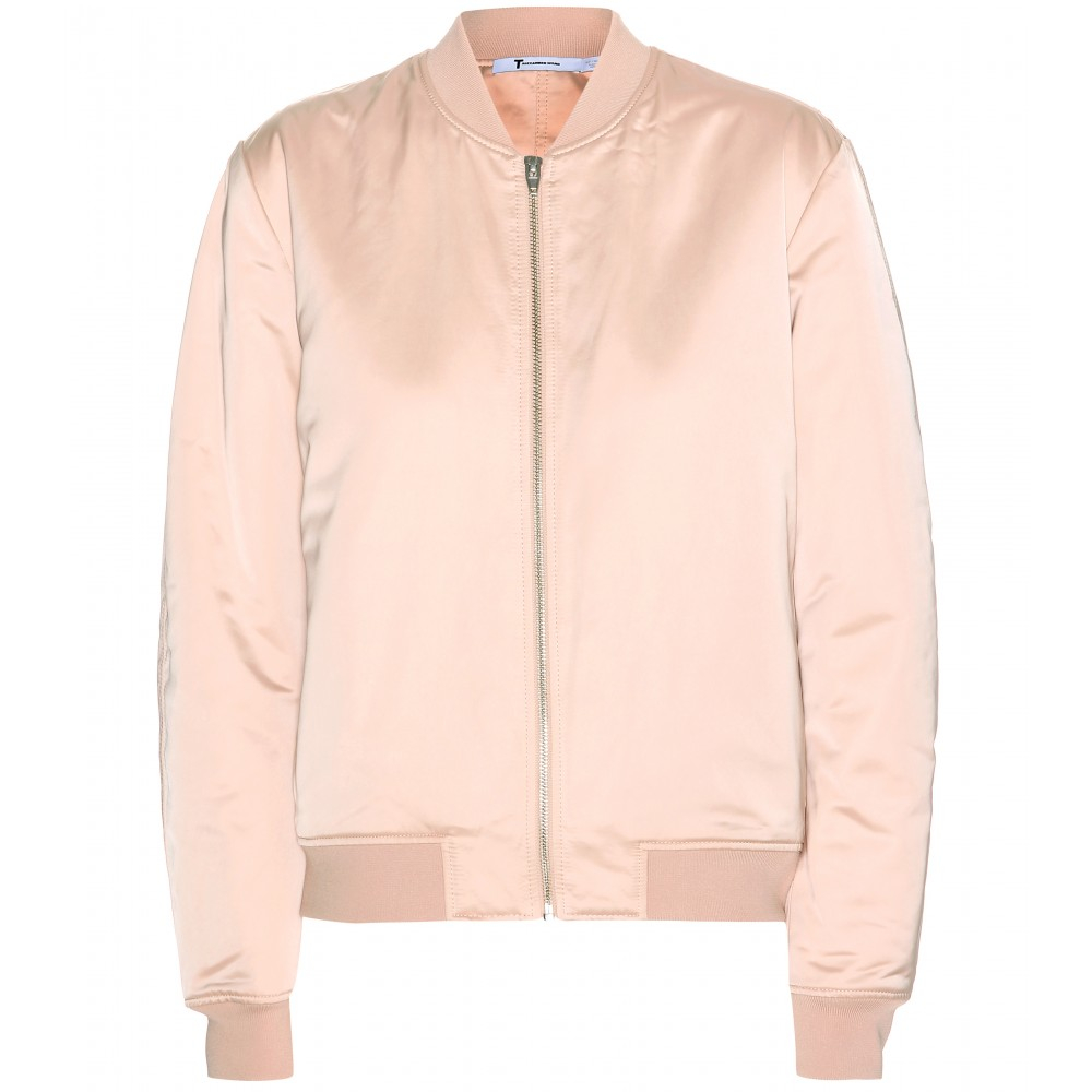 82f487c84 T By Alexander Wang Satin Bomber Jacket in Pink - Lyst