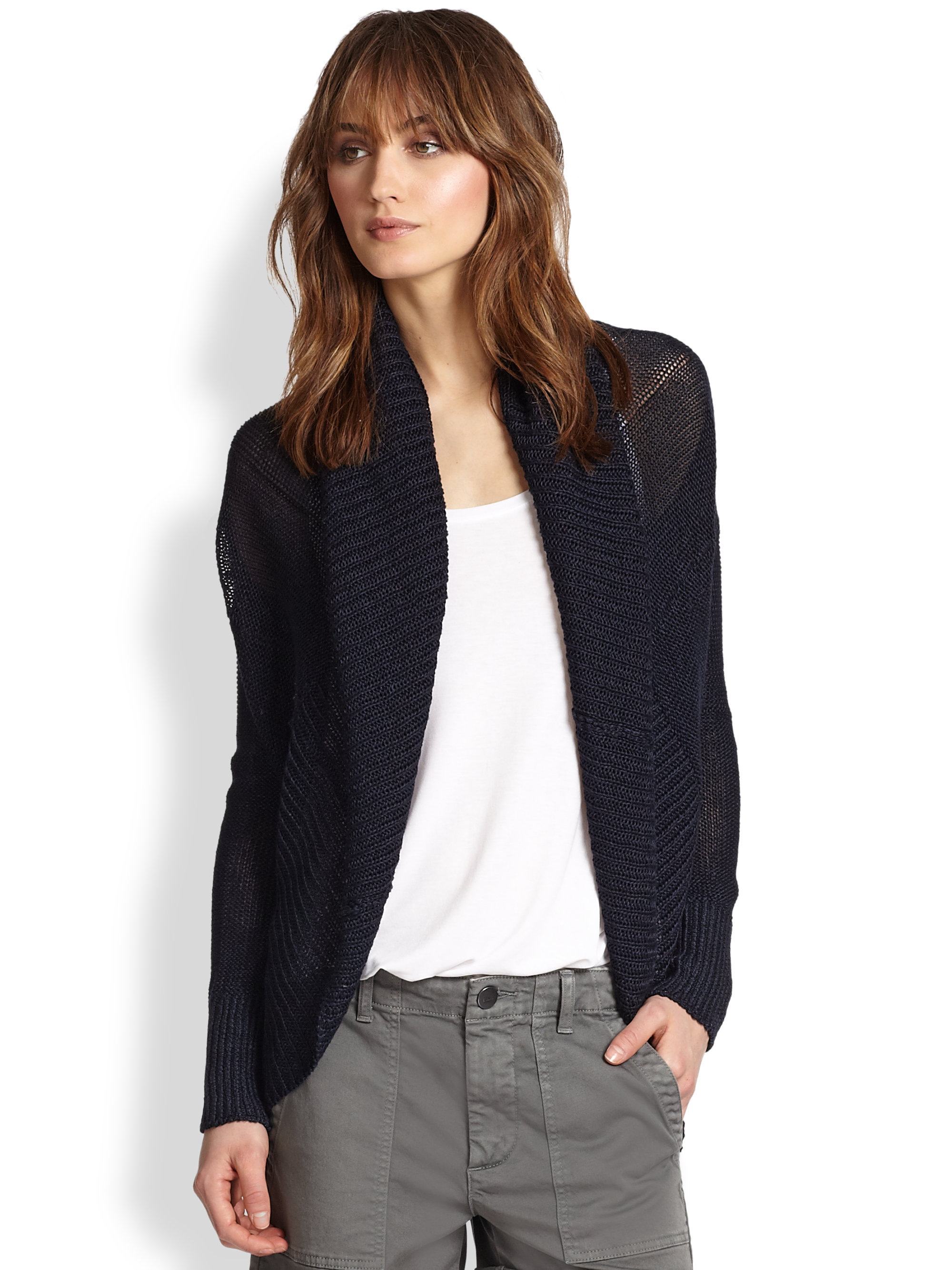 Vince Draped Linen Cocoon Cardigan in Blue | Lyst