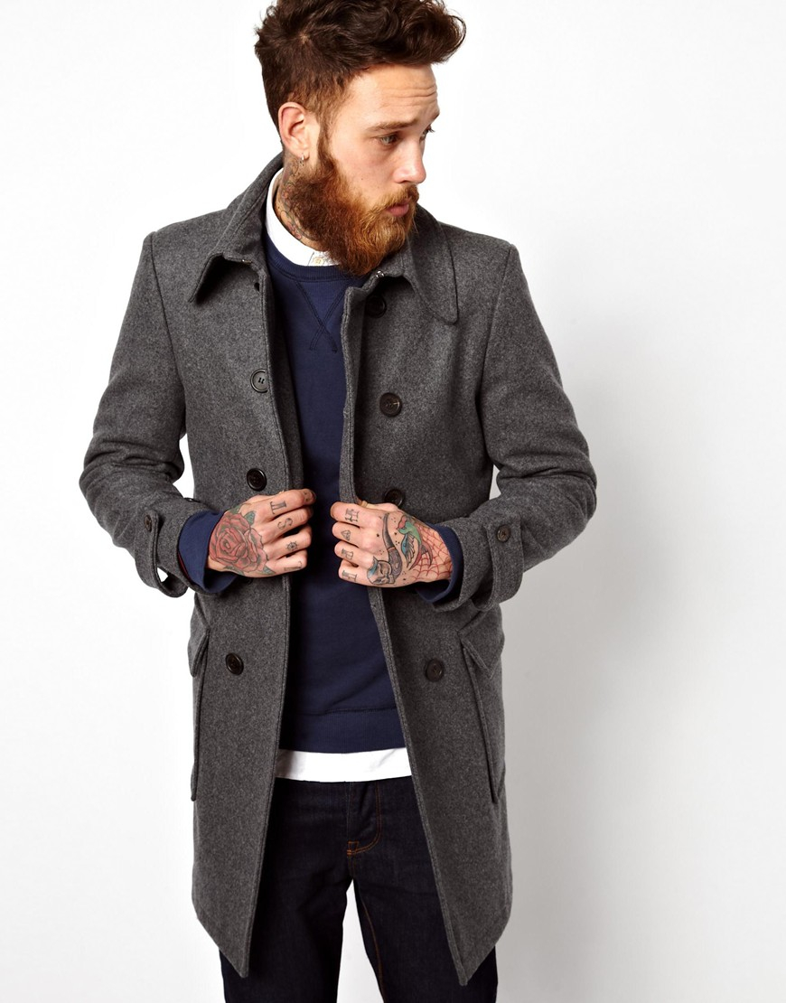 Gloverall Double Breasted Car Coat in Gray for Men | Lyst