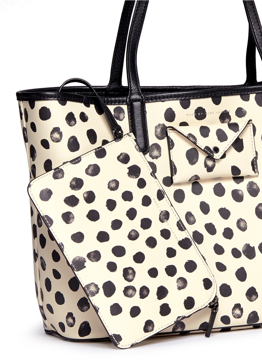 Marc By Marc Jacobs Leather 'metropolitote Tote 48' Polka Dot Print Tote in Ivory (White)