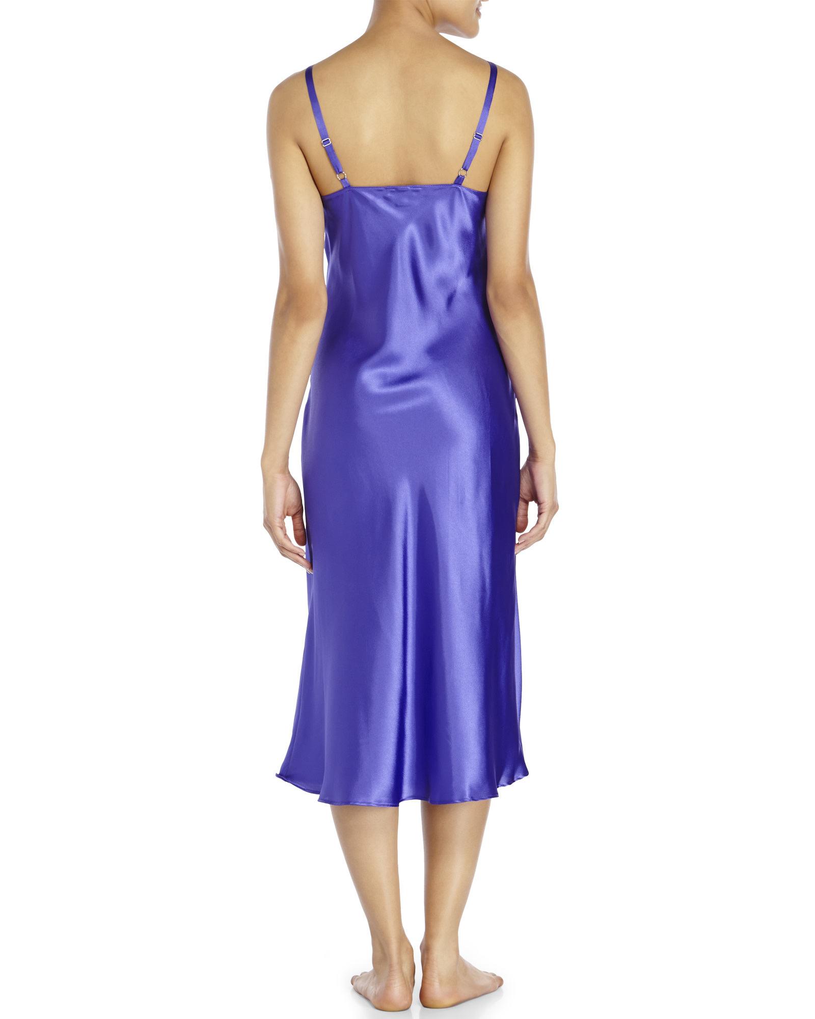 Lyst - Jones New York Purple Satin Nightgown in Blue