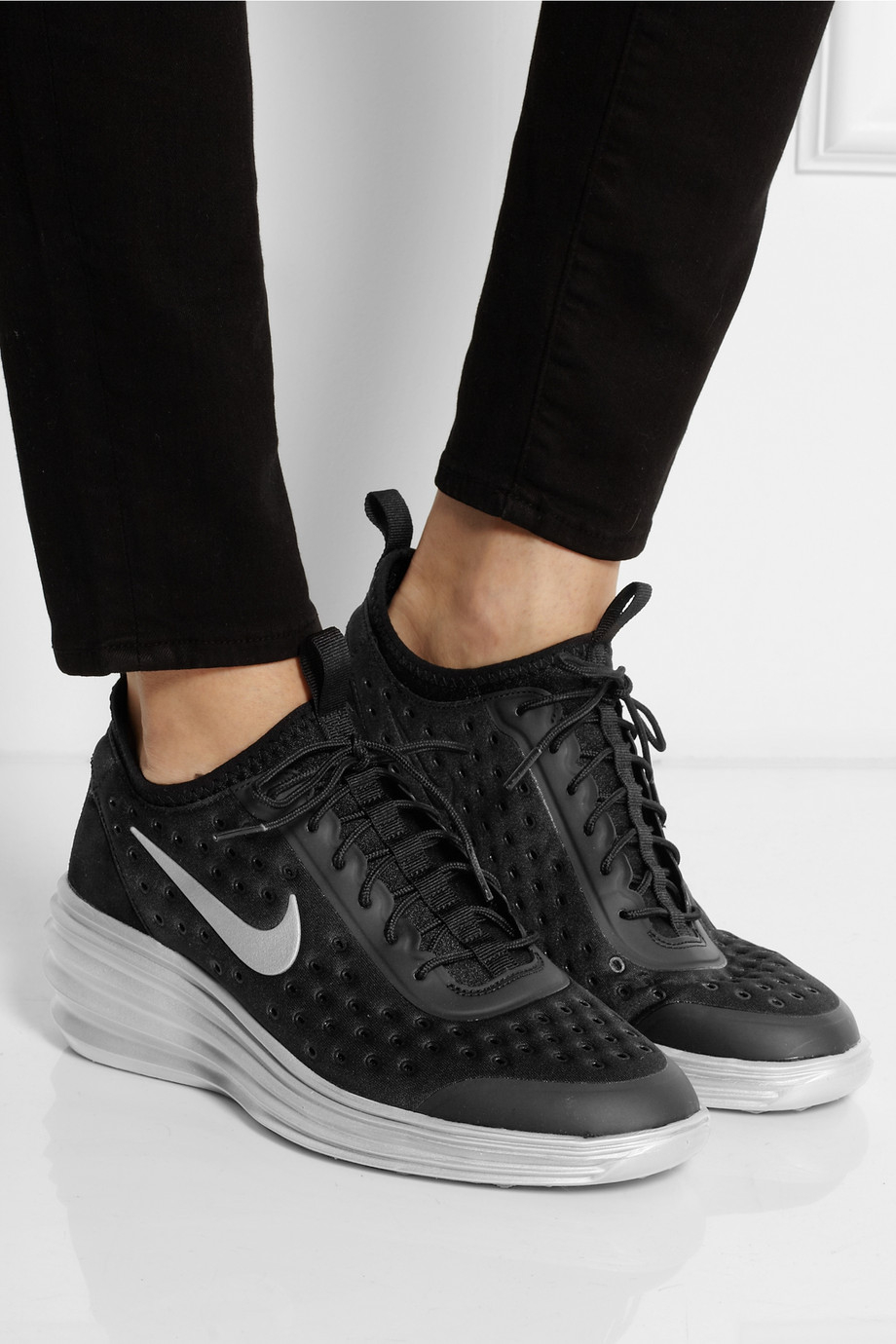 Nike Lunarelite Sky Hi Canvas and Suede Wedge Sneakers in ...