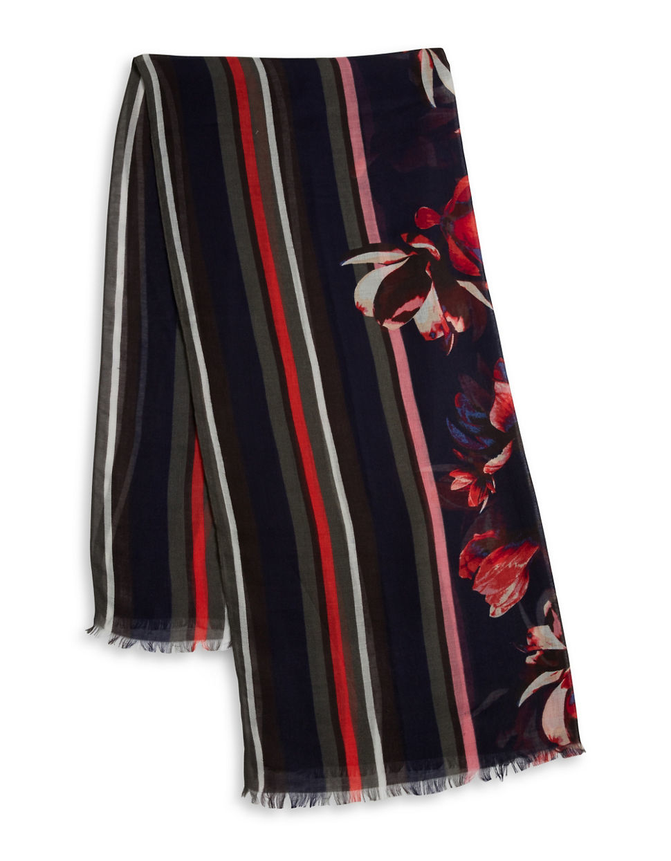 ivanka floral striped scarf in lyst