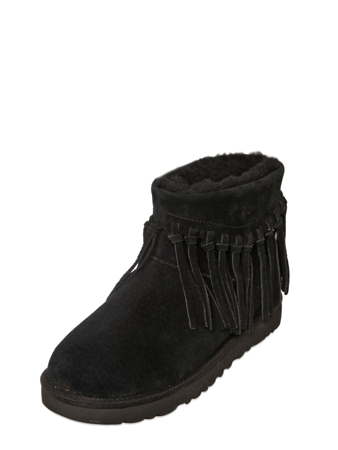 9d2dffbc3ad UGG Black Winona Fringed Shearling Ankle Boots