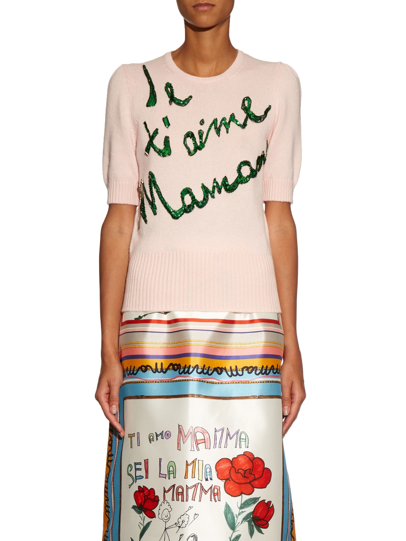 7c1ef284 Dolce & Gabbana Je T'aime Mama Cashmere Sweater in Pink - Lyst