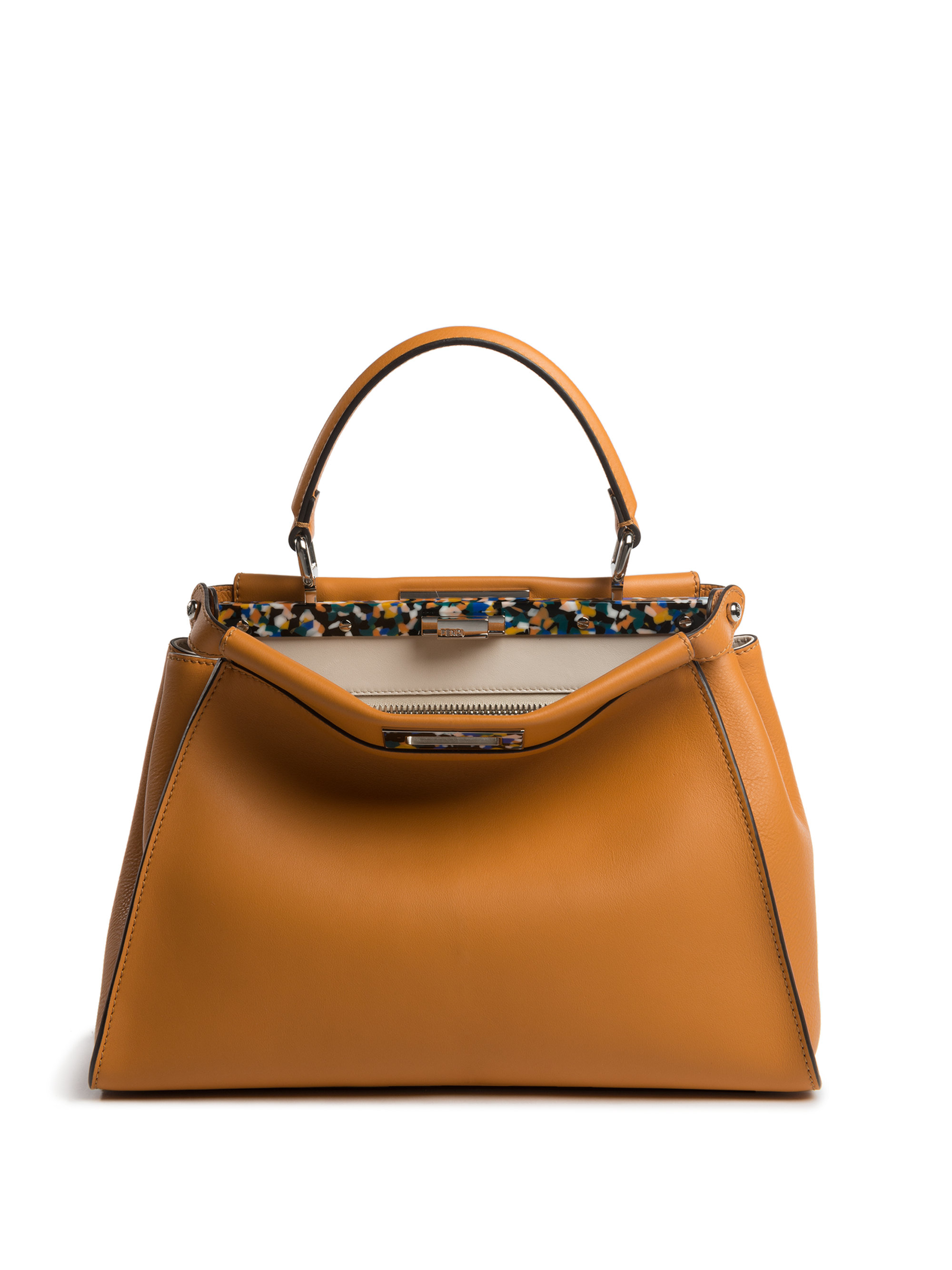dcedc74699 Lyst - Fendi Peekaboo Medium Tile-accented Leather Satchel in Brown