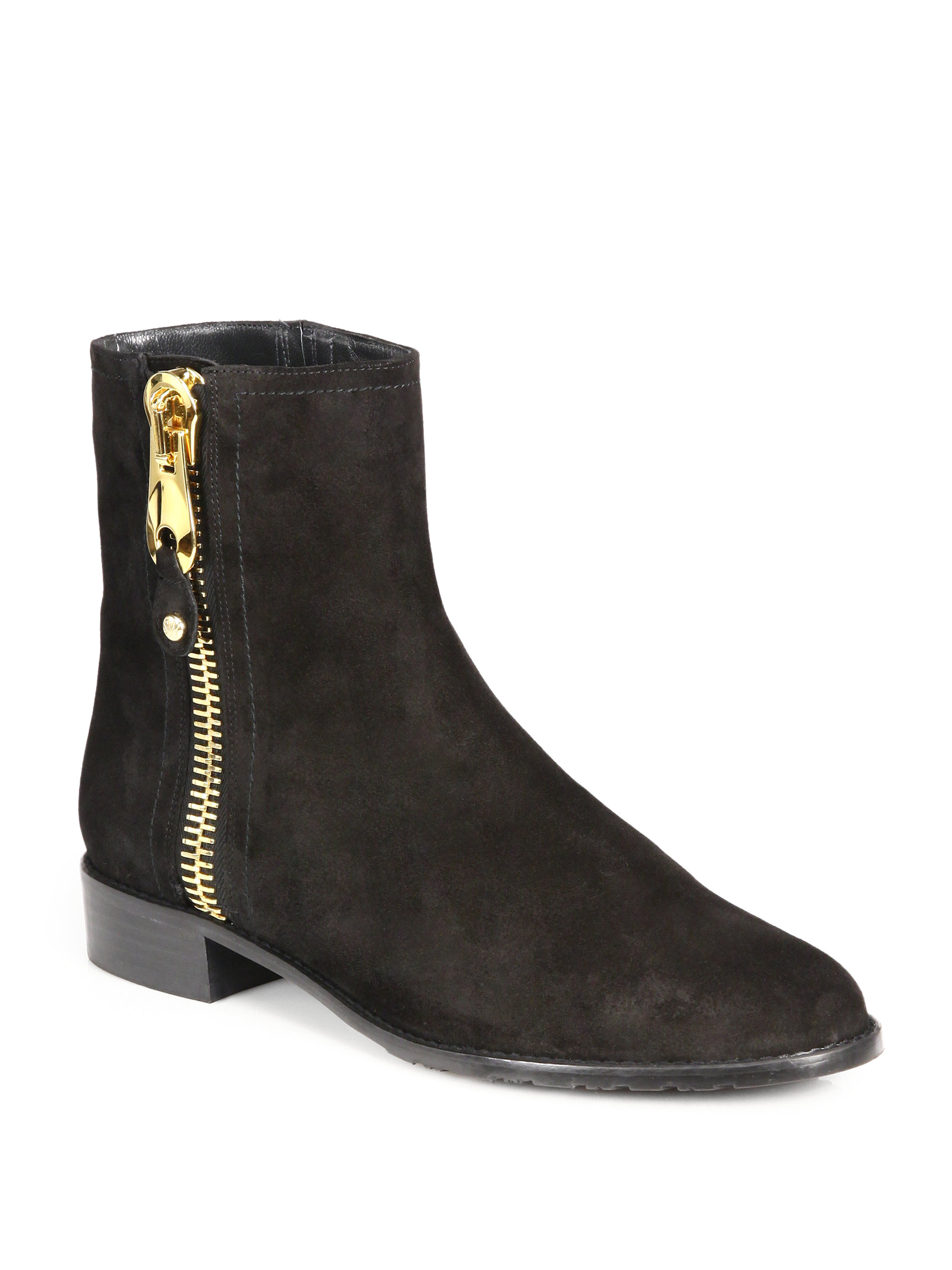 Stuart Weitzman Suede Zipper Ankle Boots In Black Lyst