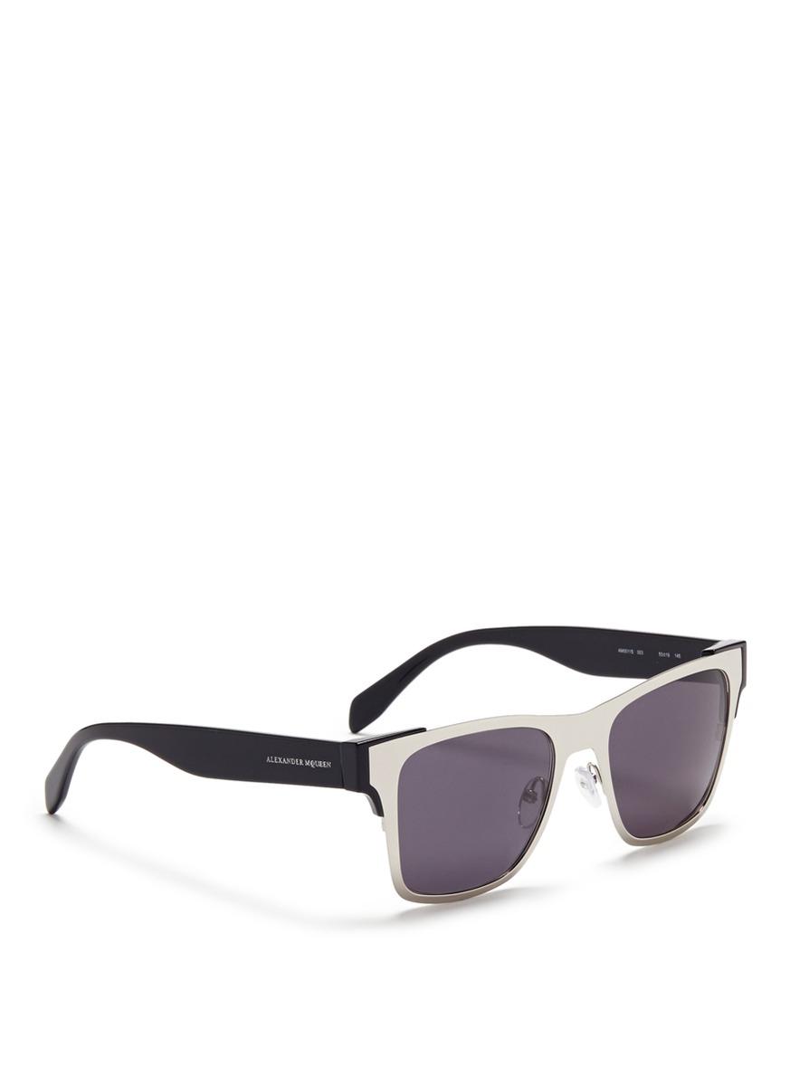 Round-frame metal sunglasses Alexander McQueen LryBB