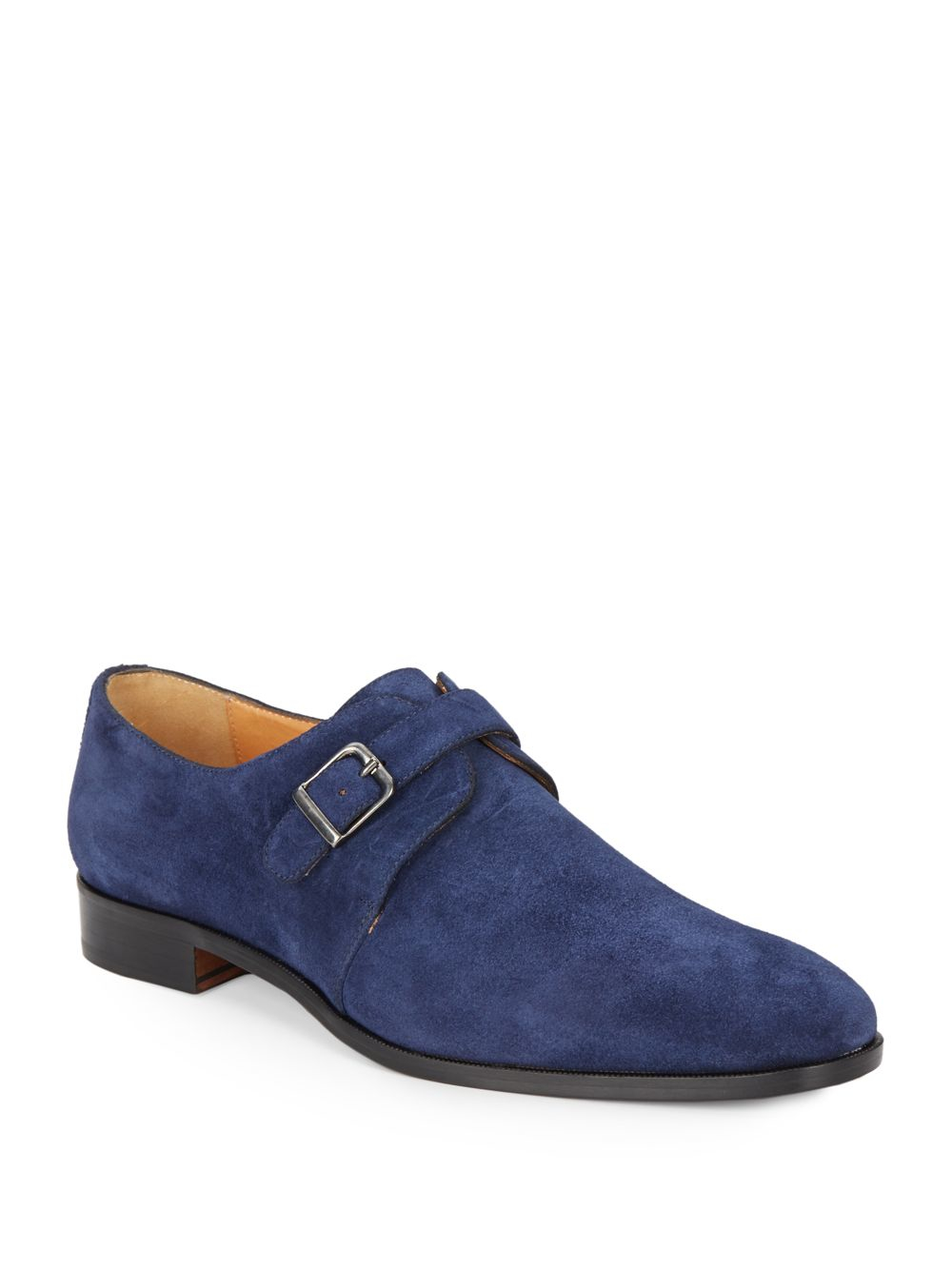 saks fifth avenue suede monk shoes in blue for