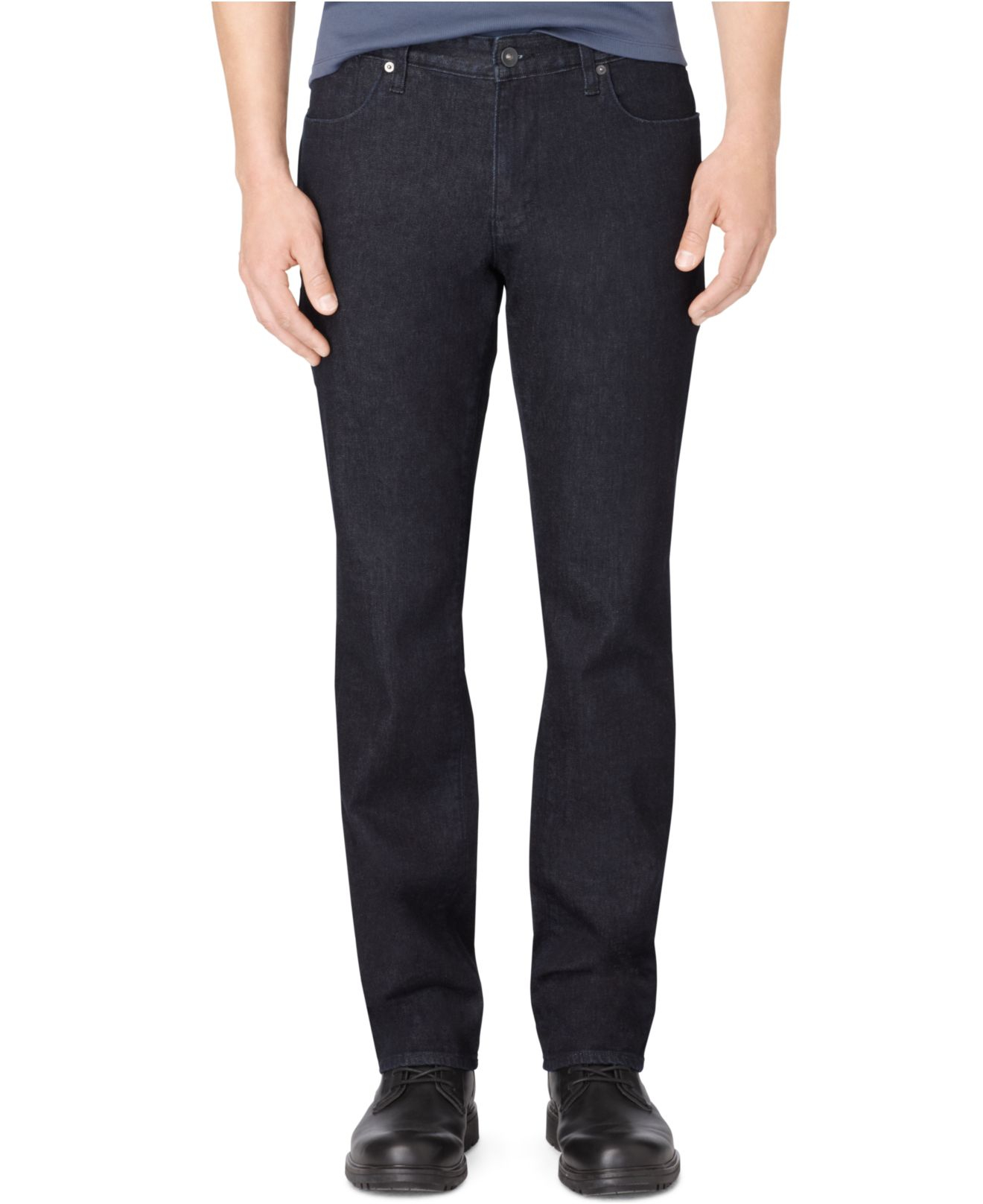 calvin klein men 39 s indigo slim straight fit jeans in blue. Black Bedroom Furniture Sets. Home Design Ideas