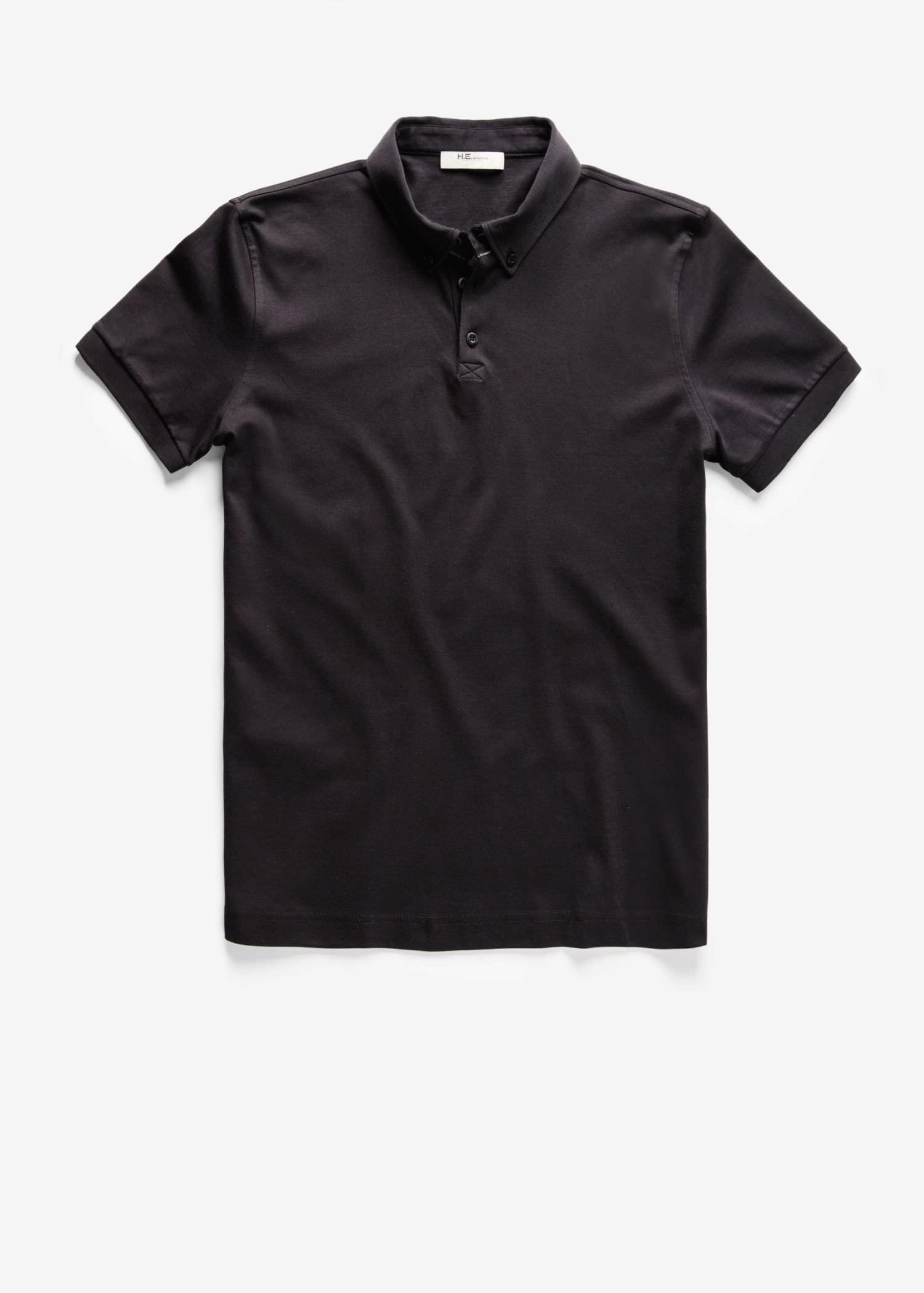 Button-Down Collar Polo Shirt