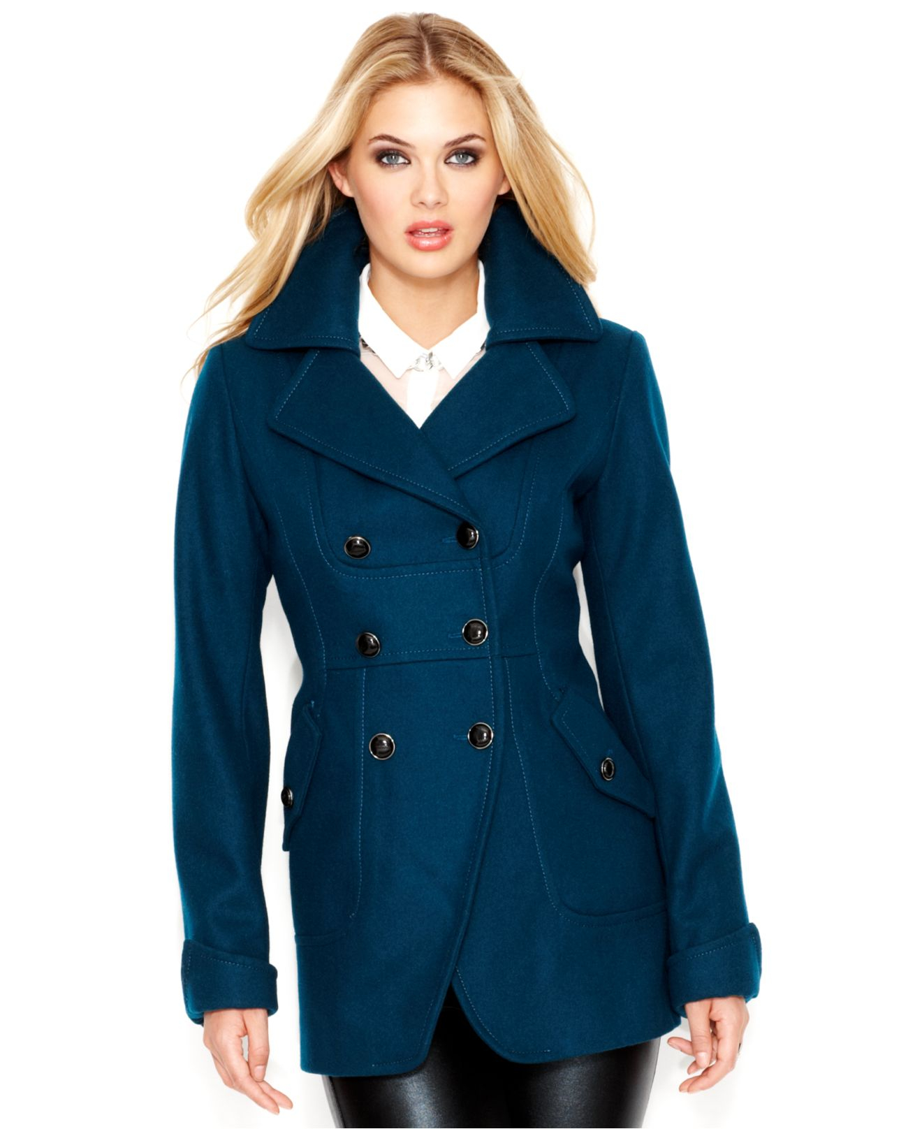 Guess Wool-Blend Cutaway Peacoat in Blue | Lyst